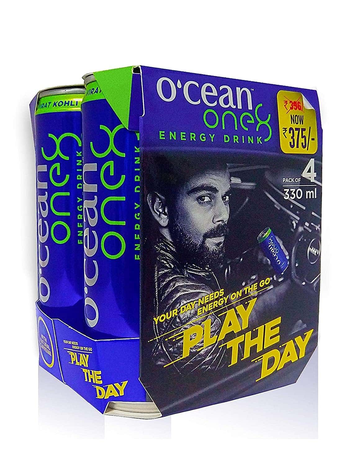 O'cean Natural Energy Drink With Natural Energy From Plant Based Caffeine & No Artificial Sweeteners. 330ml, Pack Of 4