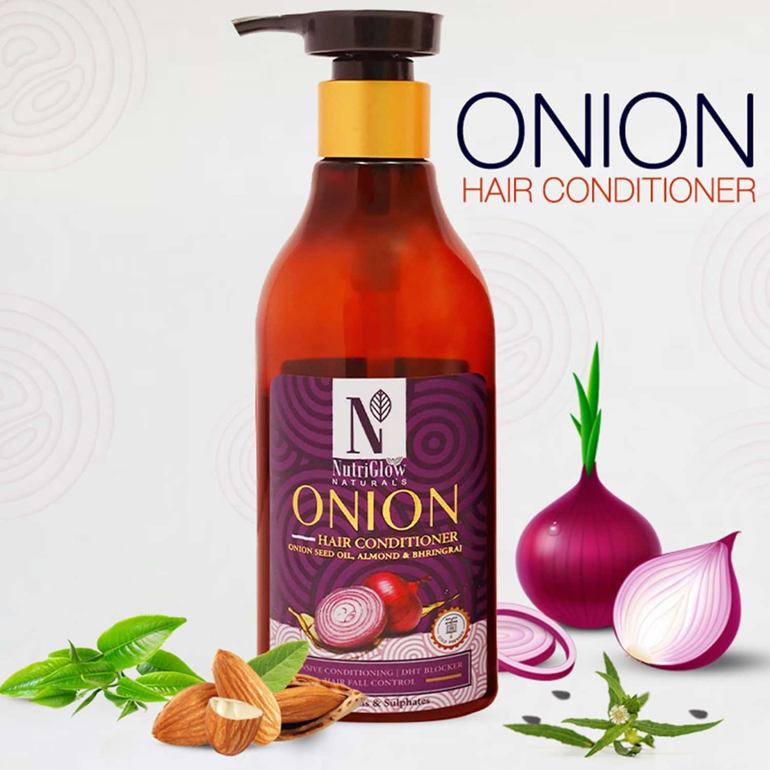 Nutriglow Natural's Onion Hair Conditioner/with Natural Source Ingredients/for Damaged Hair (300 Ml)