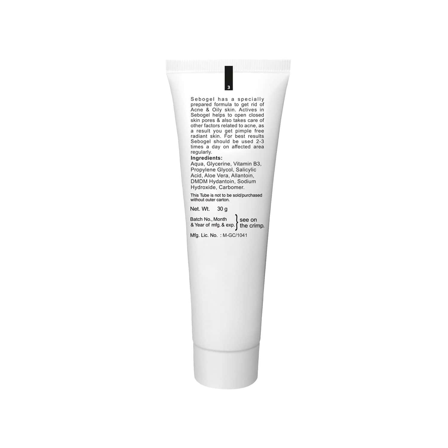 Sebogel Salicylic Acid & Nicotinamide Gel For Pimples And Oily Skin - 30gm