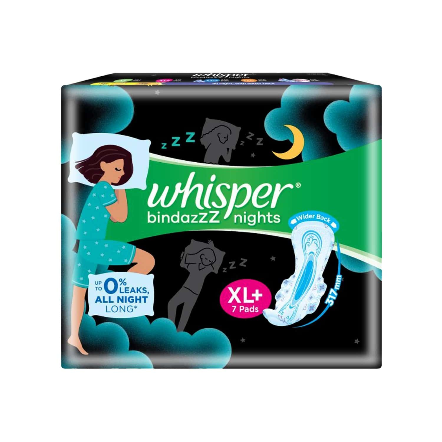 Whisper Bindazzz Nights Xl Plus - 7 Pads