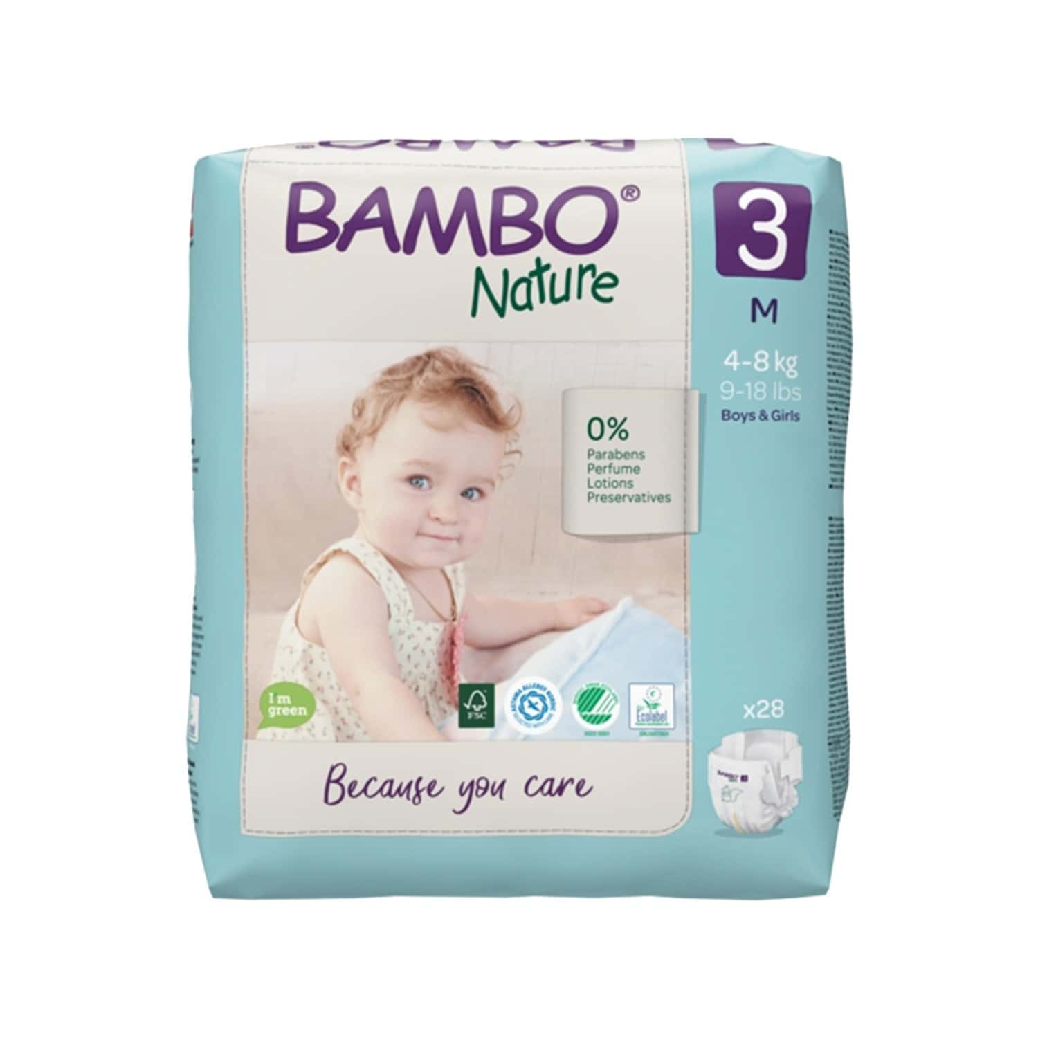 Bambo Nature Medium Size Diaper With Wetness Indicator - 28 Diapers