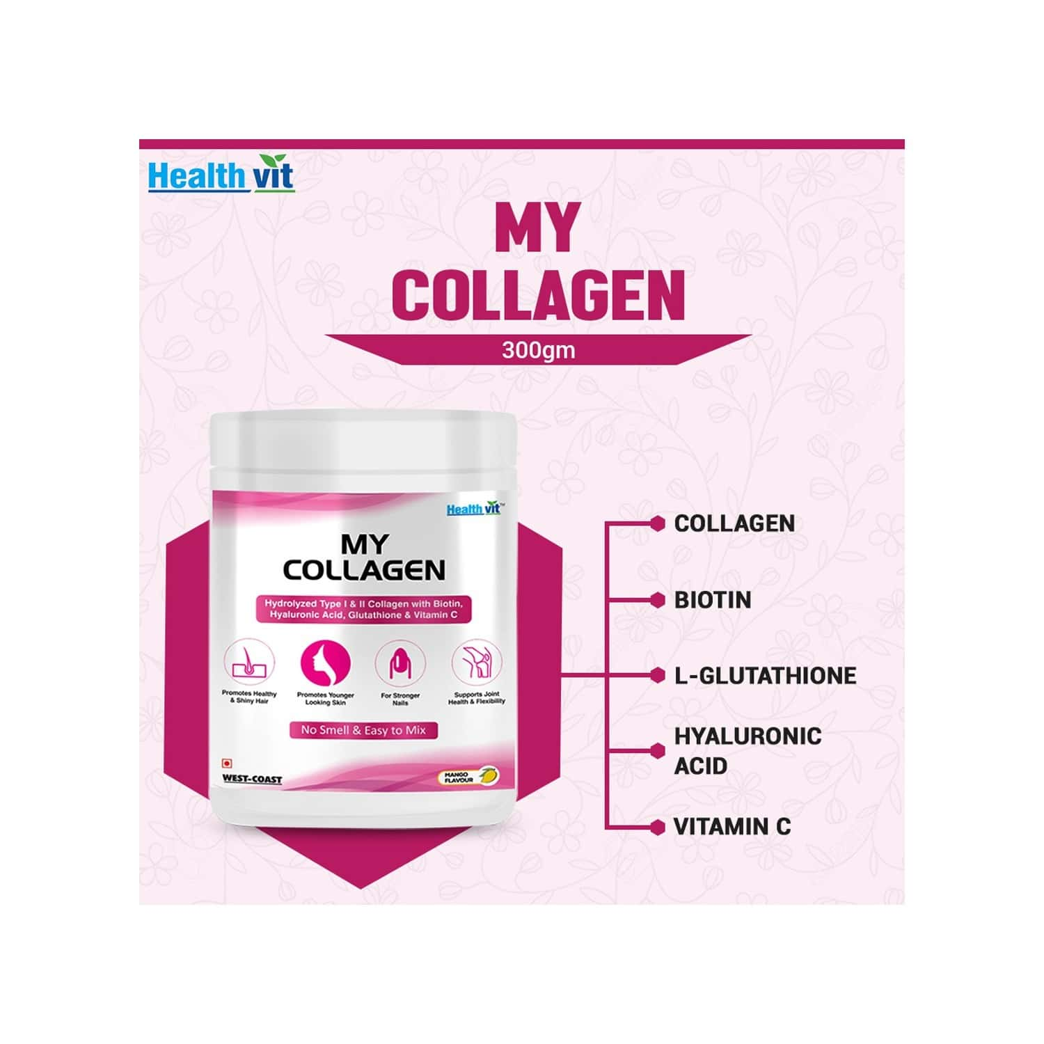 Healthvit My Collagen Powder With Hyaluronic Acid, Biotin, L-glutathione & Vitamin C - No Smell And Sugar-easy To Mix-for Skin, Hair & Nails -mango -300gm