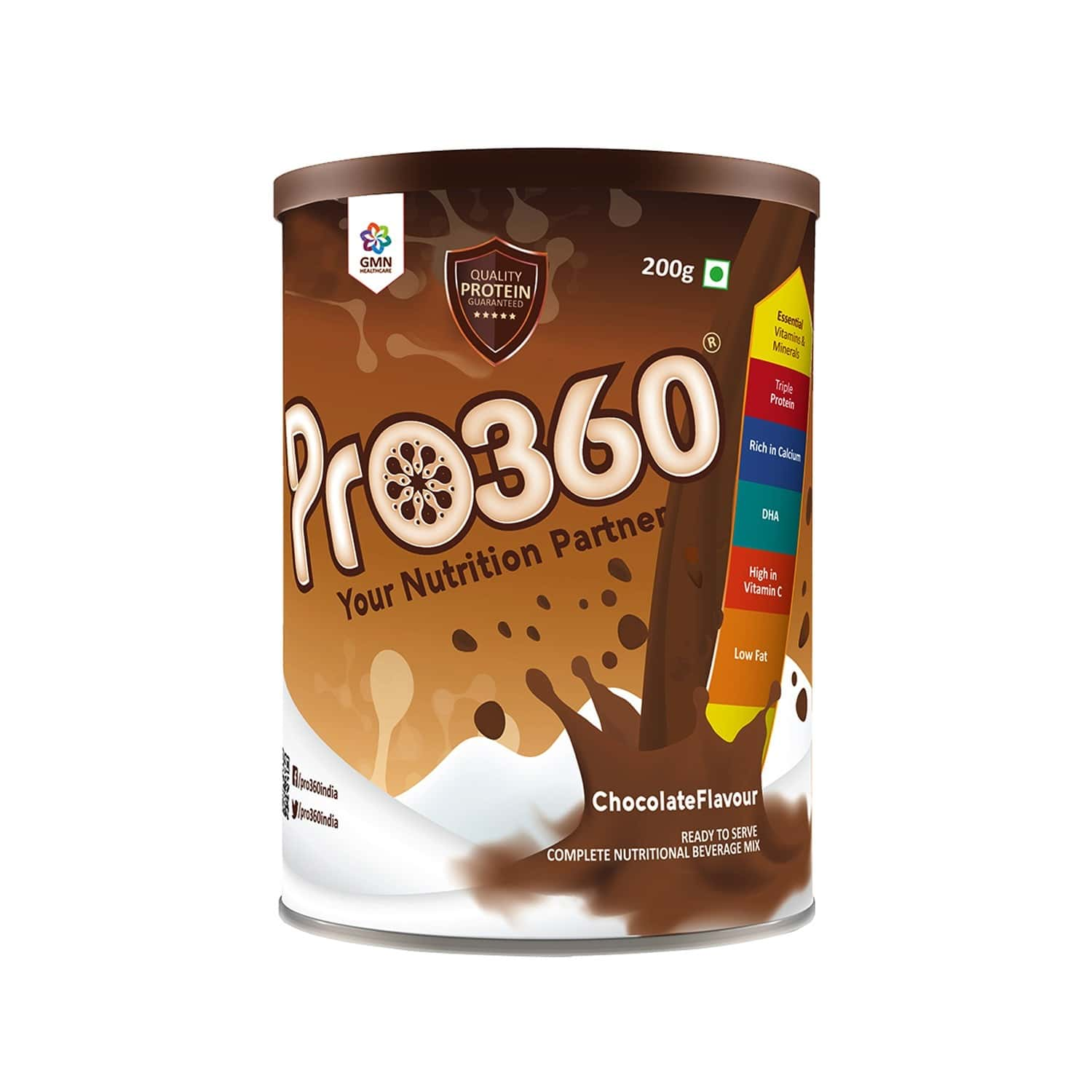 Pro360 Chocolate Nutritional Protein Supplement Powder  Tin Of 200 G