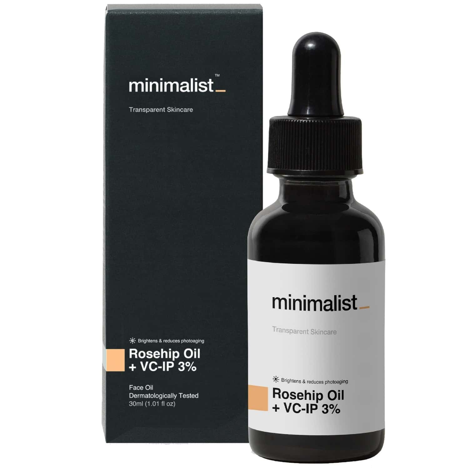 Minimalist Rosehip Face Oil With Vitamin C For Glowing Skin, Reduced Sun Damage & Skin Brightening(30ml)