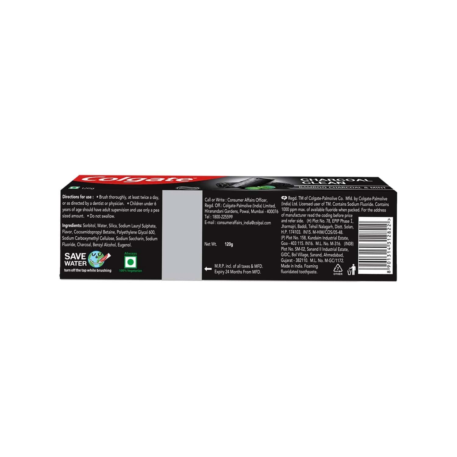 Colgate Charcoal Clean Toothpaste, Bamboo Charcoal And Mint (black Gel) 120gm