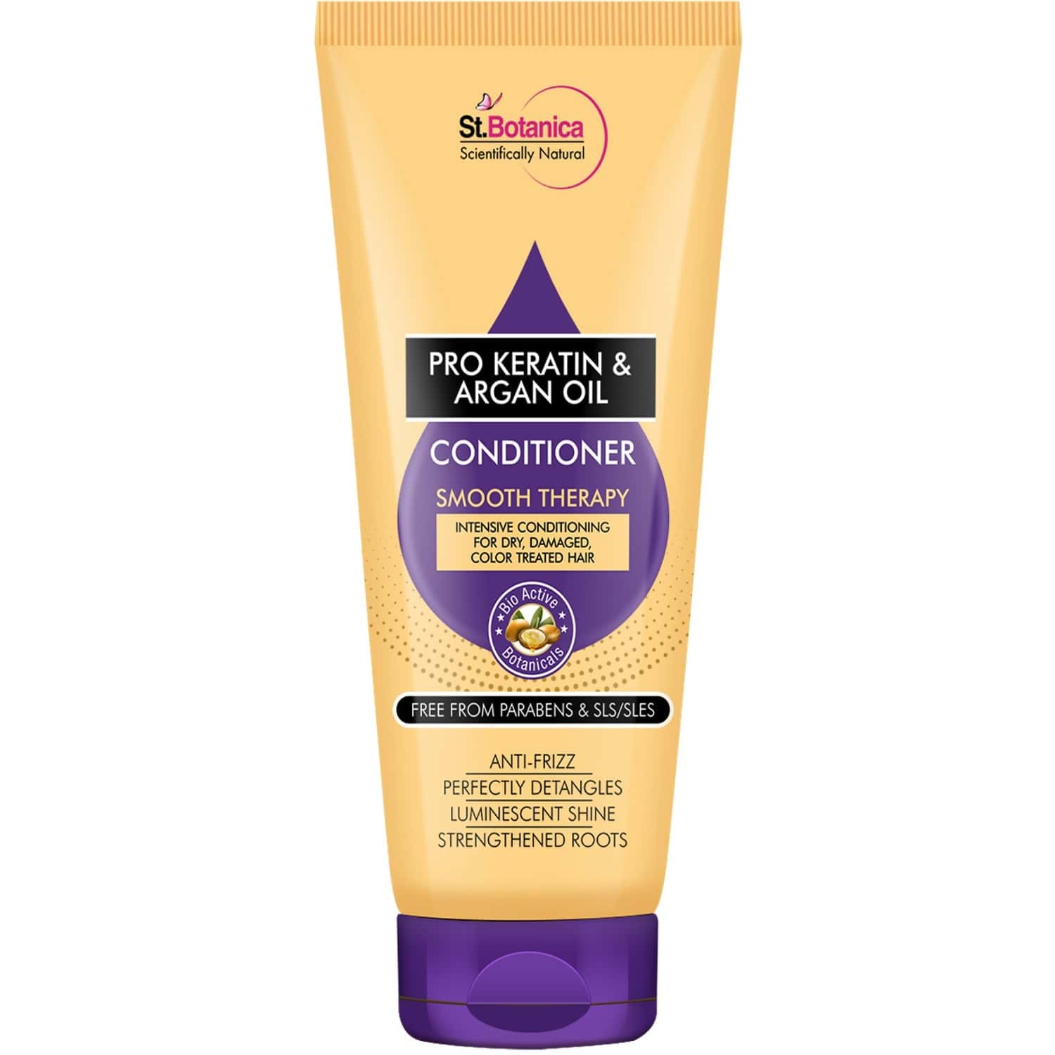 Stbotanica Pro Keratin & Argan Oil Smooth Therapy Conditioner - 200 Ml - Intensive Conditioning For Dry, Damaged And Color Treated Hair, No Parabens Or Sls/sles