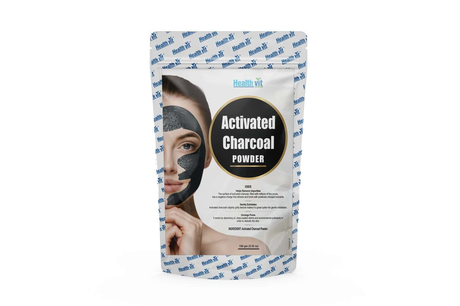 Healthvit  Activated Charcoal Powder For Face Mask Packet Of 100 G