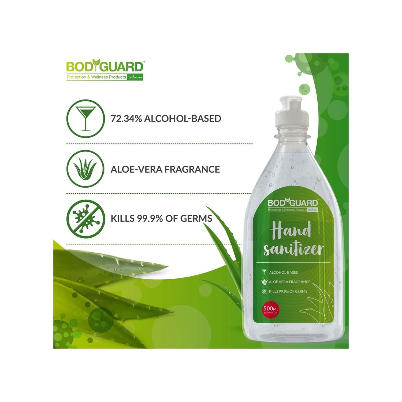 Bodyguard Alcohol Based Hand Sanitizer With Aloe Vera - 500 Ml