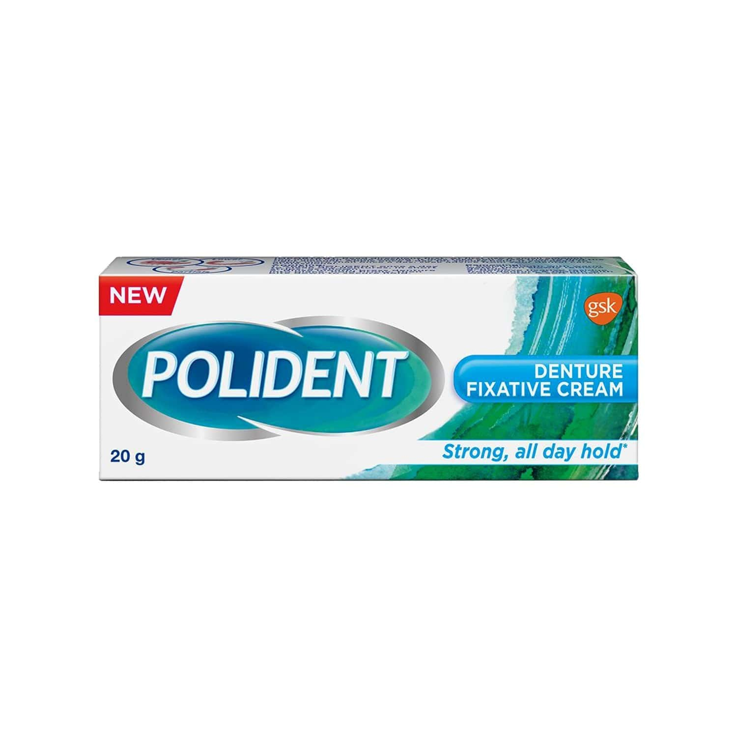 Polident Denture Fixative Cream Denture Adhesive For All Day Hold Of Dentures - 20 G