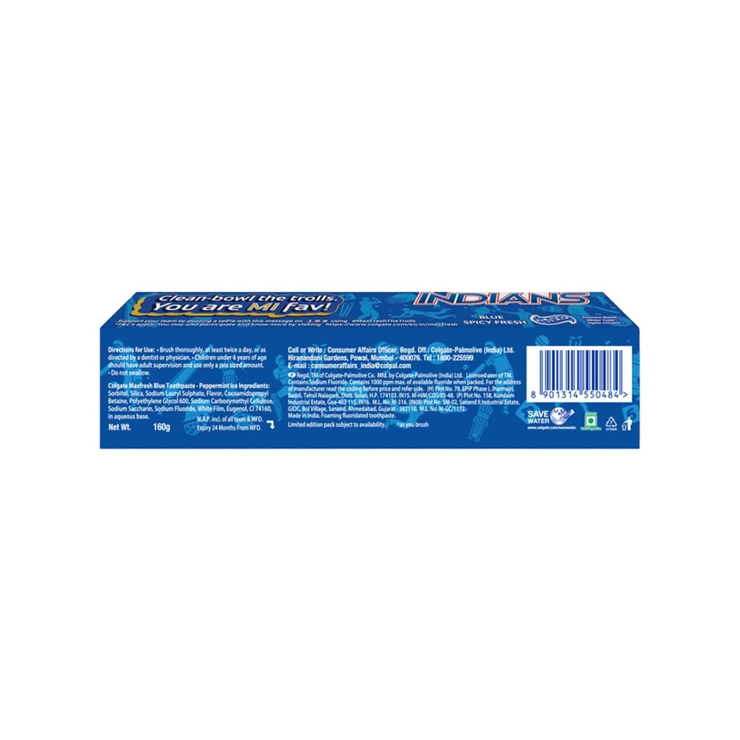 Colgate Maxfresh Blue Spicy Fresh Gel Toothpaste - 160 Gm - Mumbai Indians Special Edition Pack