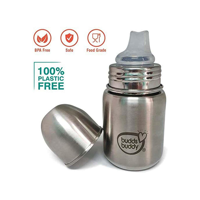 Buddsbuddy Premium Stainless Steel 3 In 1 Feeding Bottle - 200ml