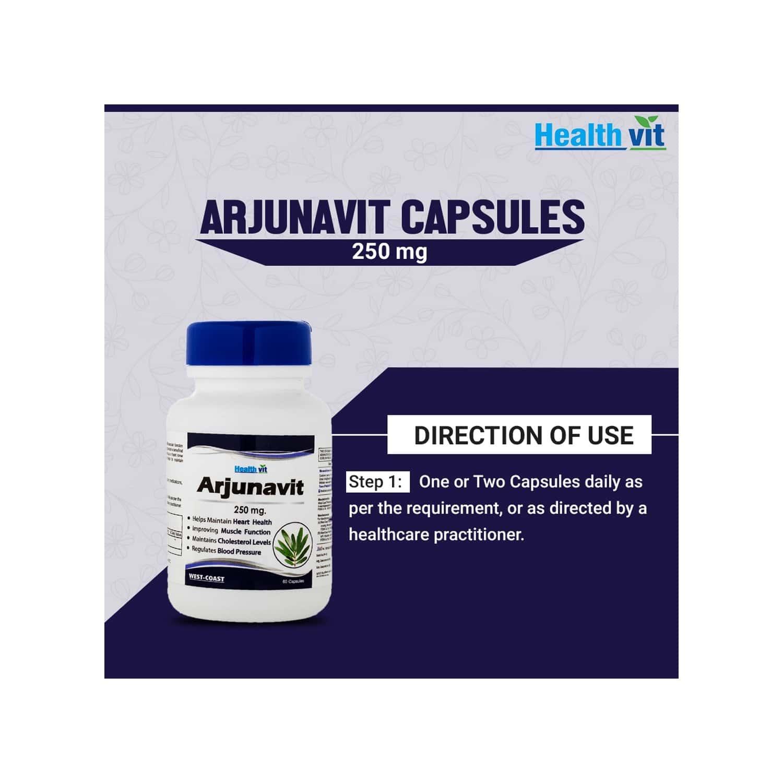 Healthvit Arjunavit Arjuna Powder 250 Mg -60 Capsules