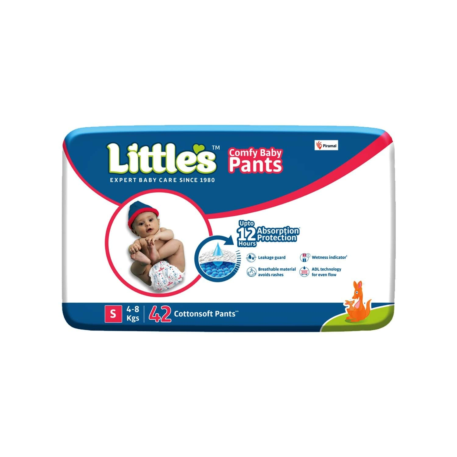 Little's Comfy Baby Pants Diapers With Wetness Indicator And 12 Hours Absorption - Small 42 Pants