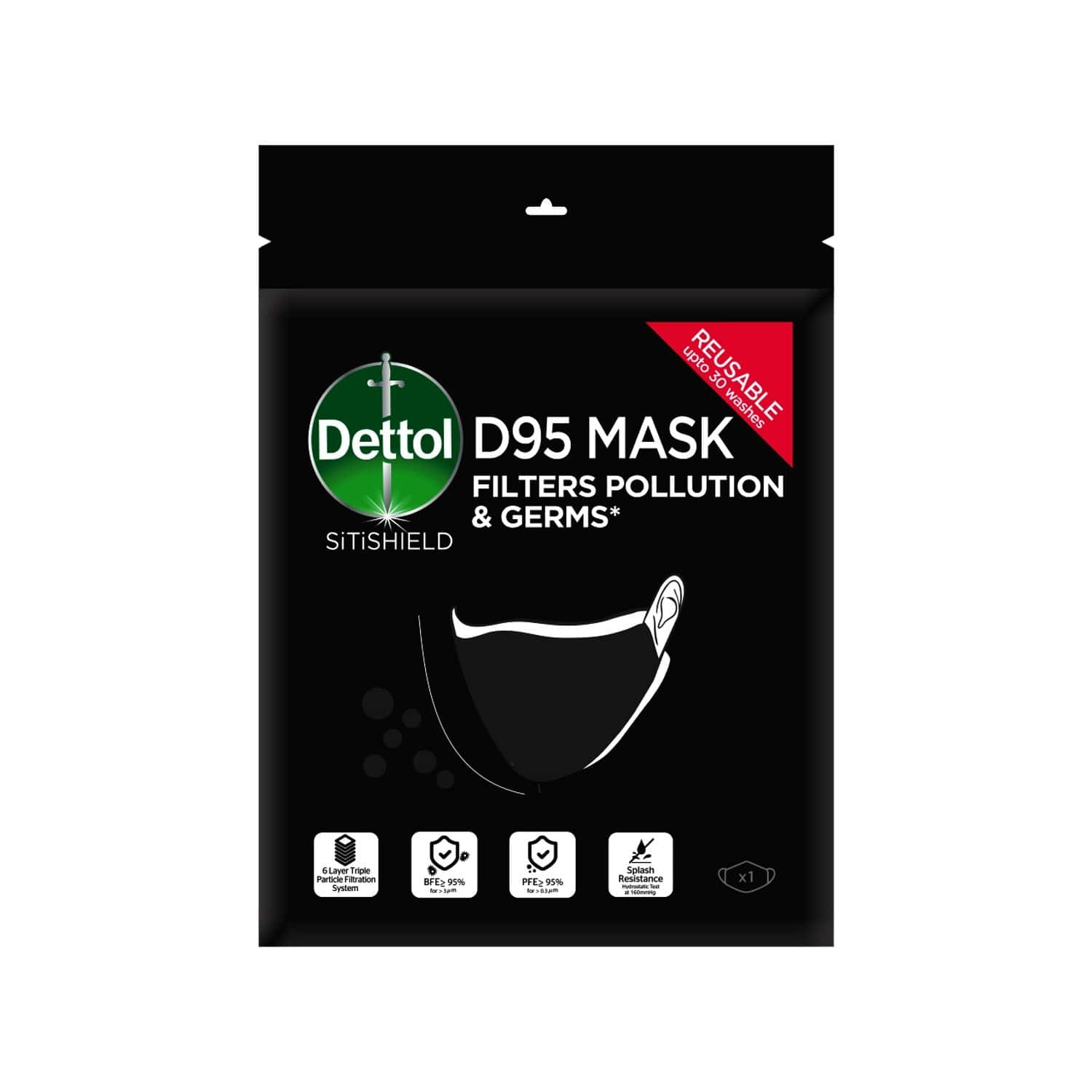Dettol D95 Mask For Protection From Bacteria, Germs & Pollution Reusable & Washable - Medium - Pack Of 1