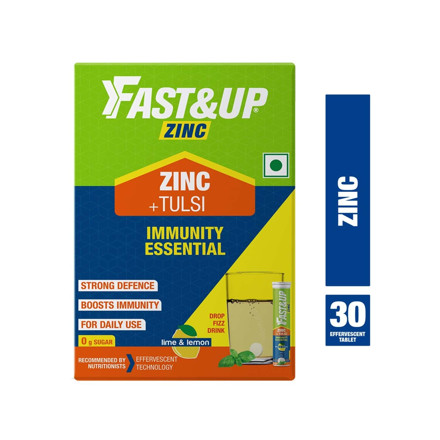 Fast&up Zinc With Tulsi Extract For Daily Immunity & Well Being 30 Effervescent Tablets