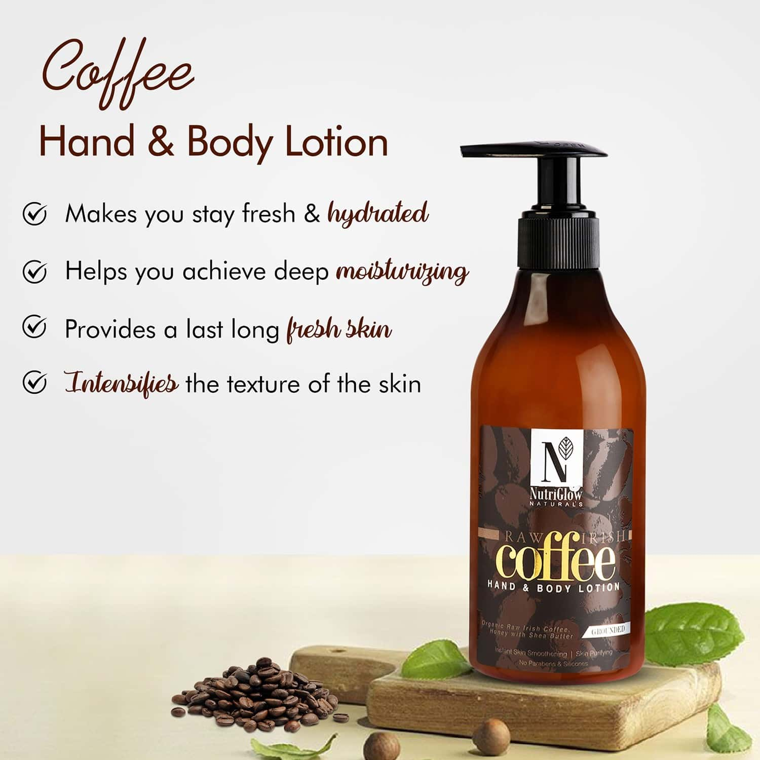Nutriglow Natural's Coffee Hand & Body Lotion| Smoothening| Skin Purifying 300ml