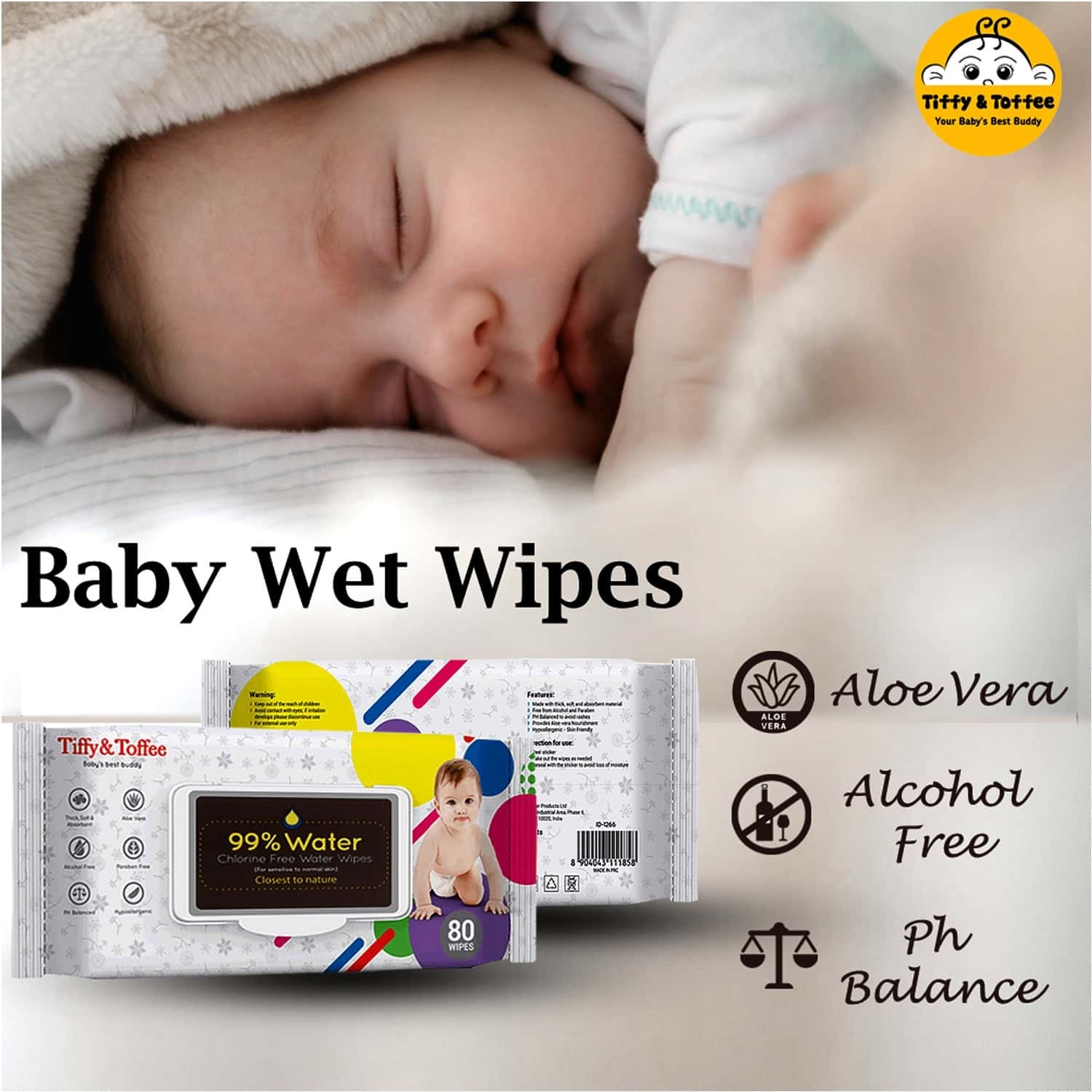 Tiffy & Toffee 99% Water Baby Wet Wipes (pack Of 6 X 80's)