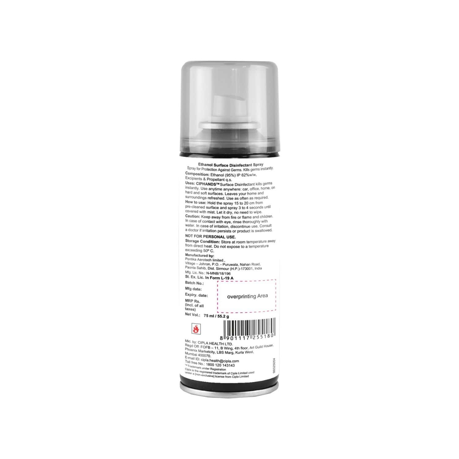 Cipla Ciphands Daily Surface Disinfectant Spray - 75 Ml
