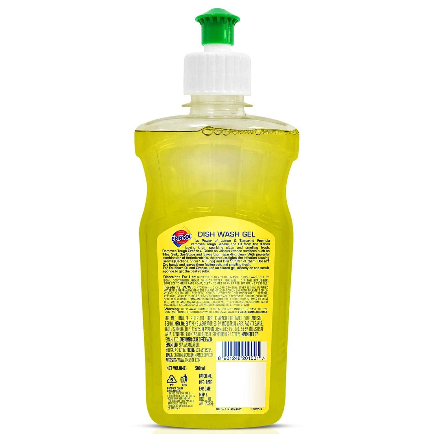 Emami Emasol Dish Wash Gel- Lemon - 500ml