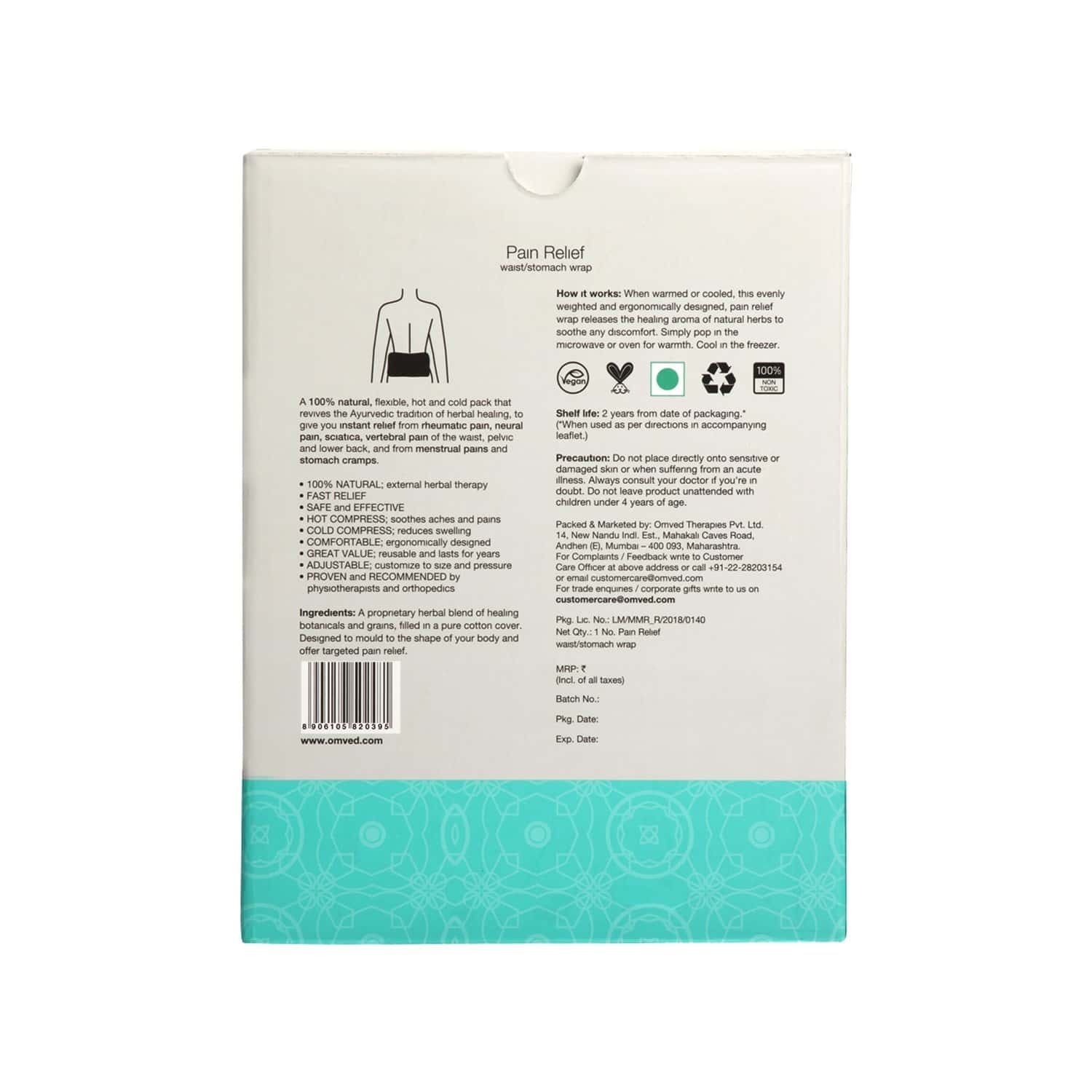 Omved Multipurpose Pain Relief Waist Wrap For Lower Back Pain, Stomach Pain, Menstrual Cramps