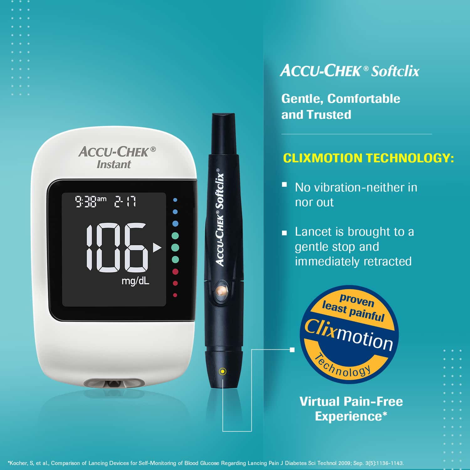 Accu-chek Instant Glucometer (with Bluetooth Technology And Mysugr Diabetes Management App & 10 Free Strips)