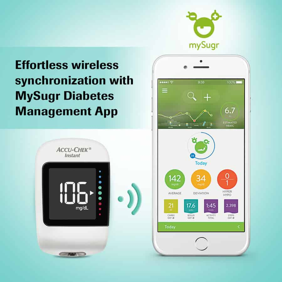 Accu-chek Instant Glucometer With Free 10 Strips (with Bluetooth Technology And Mysugr Diabetes Management App)