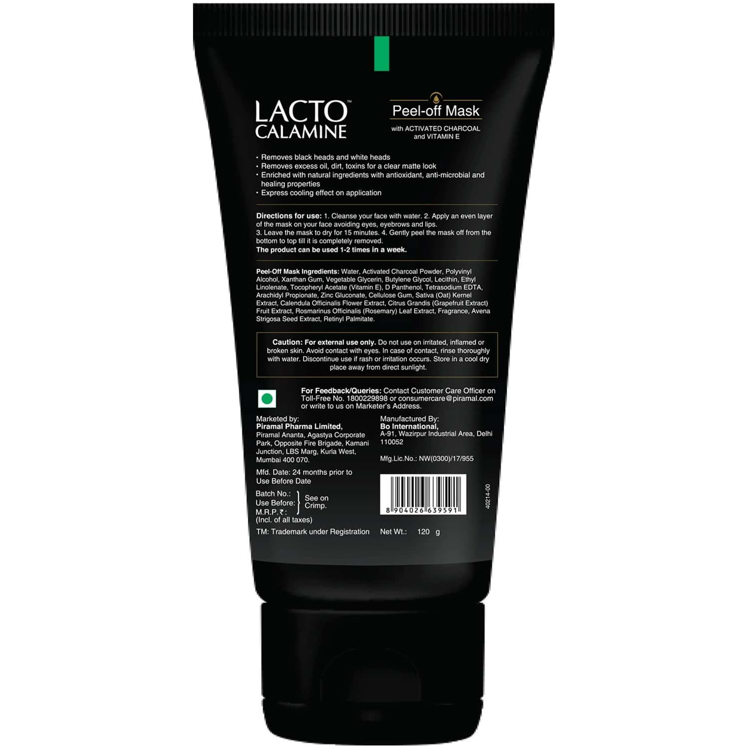 Lacto Calamine Peel Off Mask With Activated Charcoal And Vitamin E Deep Pore Cleansing 120 Gm
