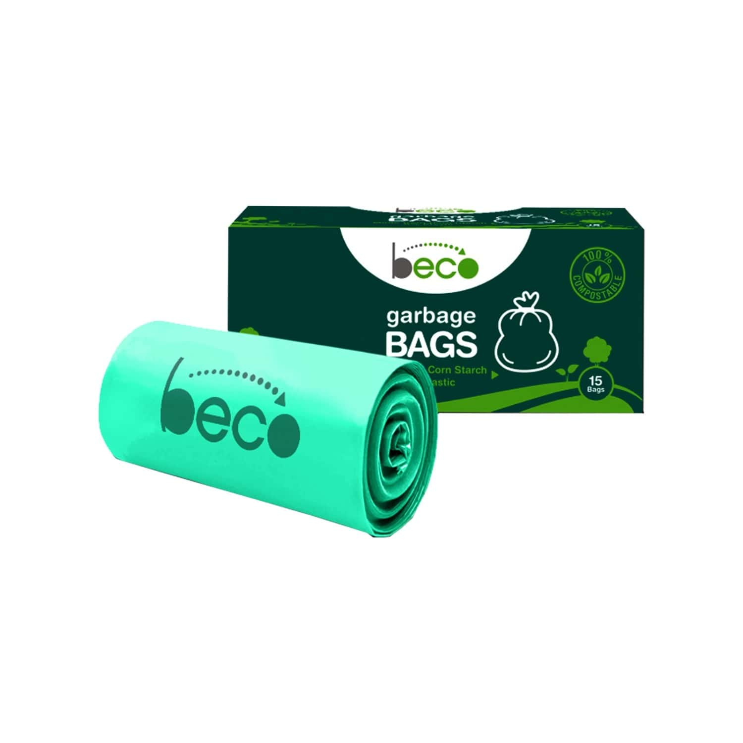 Beco Compostable Small 17 X 19 Inches Garbage Bags/trash Bags/dustbin Bags - 15 Pieces