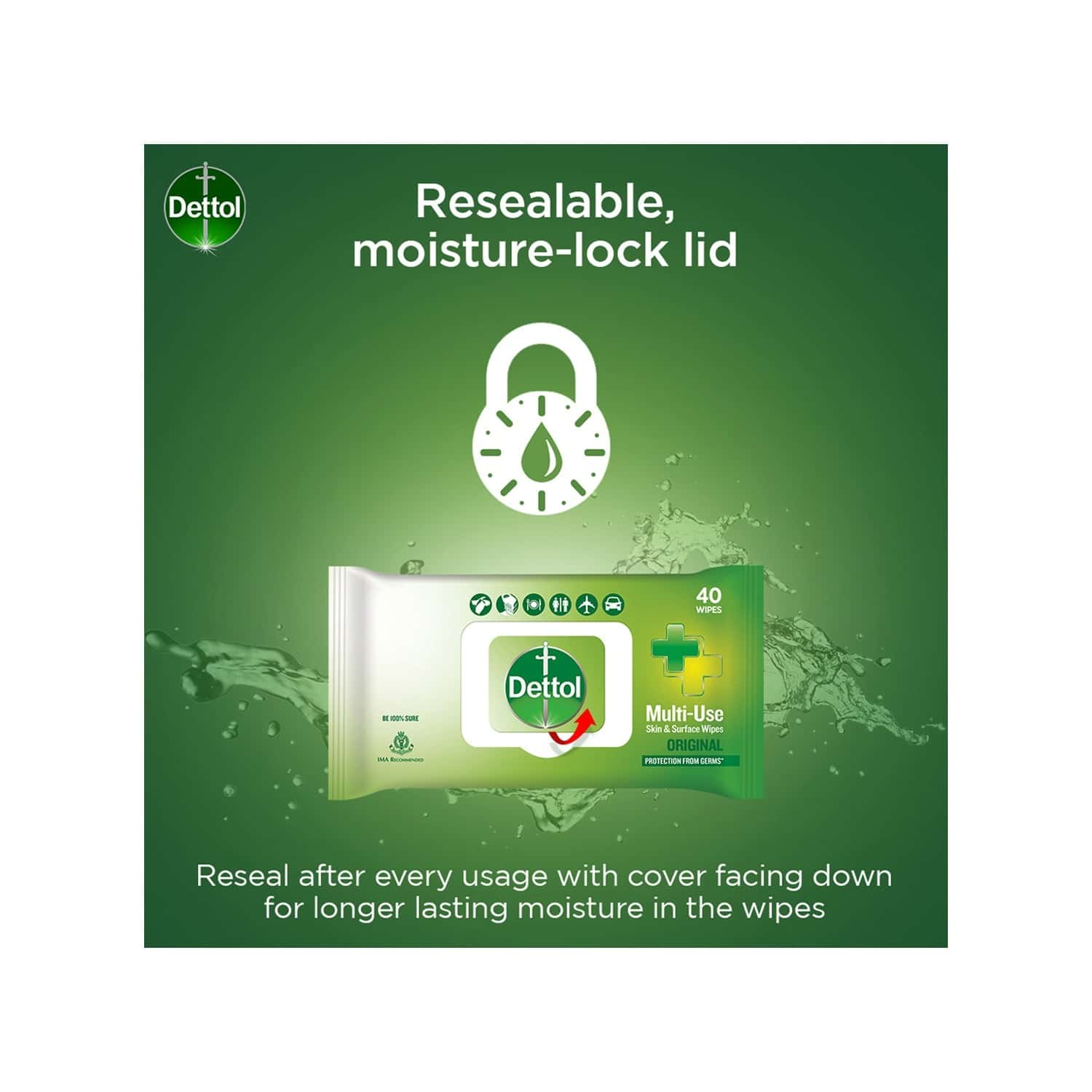 Dettol Disinfectant Skin & Surface Wipes, Original, Safe On Skin, Ideal To Clean Multiple Surfaces, Resealable Lock - Lid - 40 Count