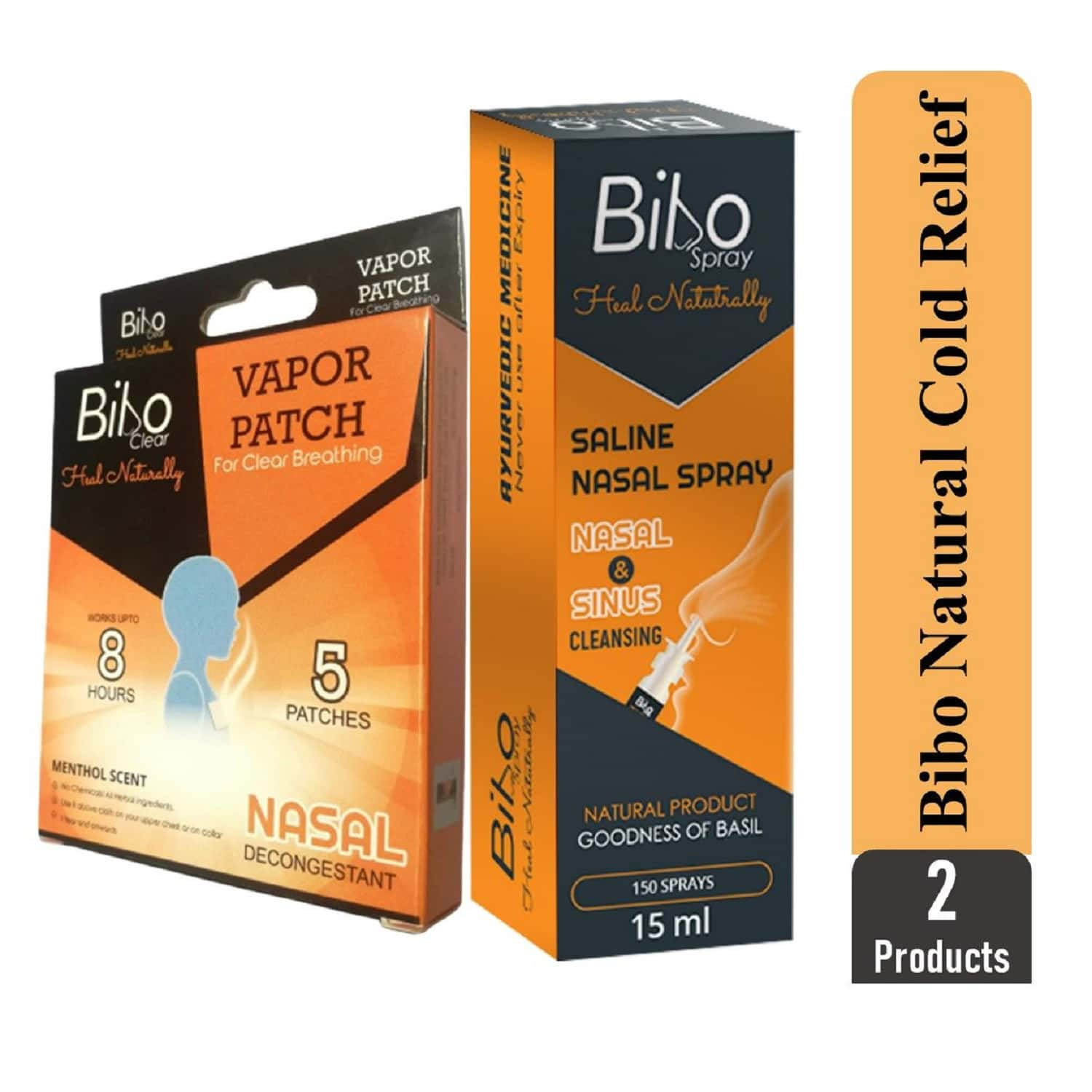 Bibo Natural Cold Relief Pack - Nasal Blockage - Runny Nose - Natural Therapy - Immunity Booster - 2 Products