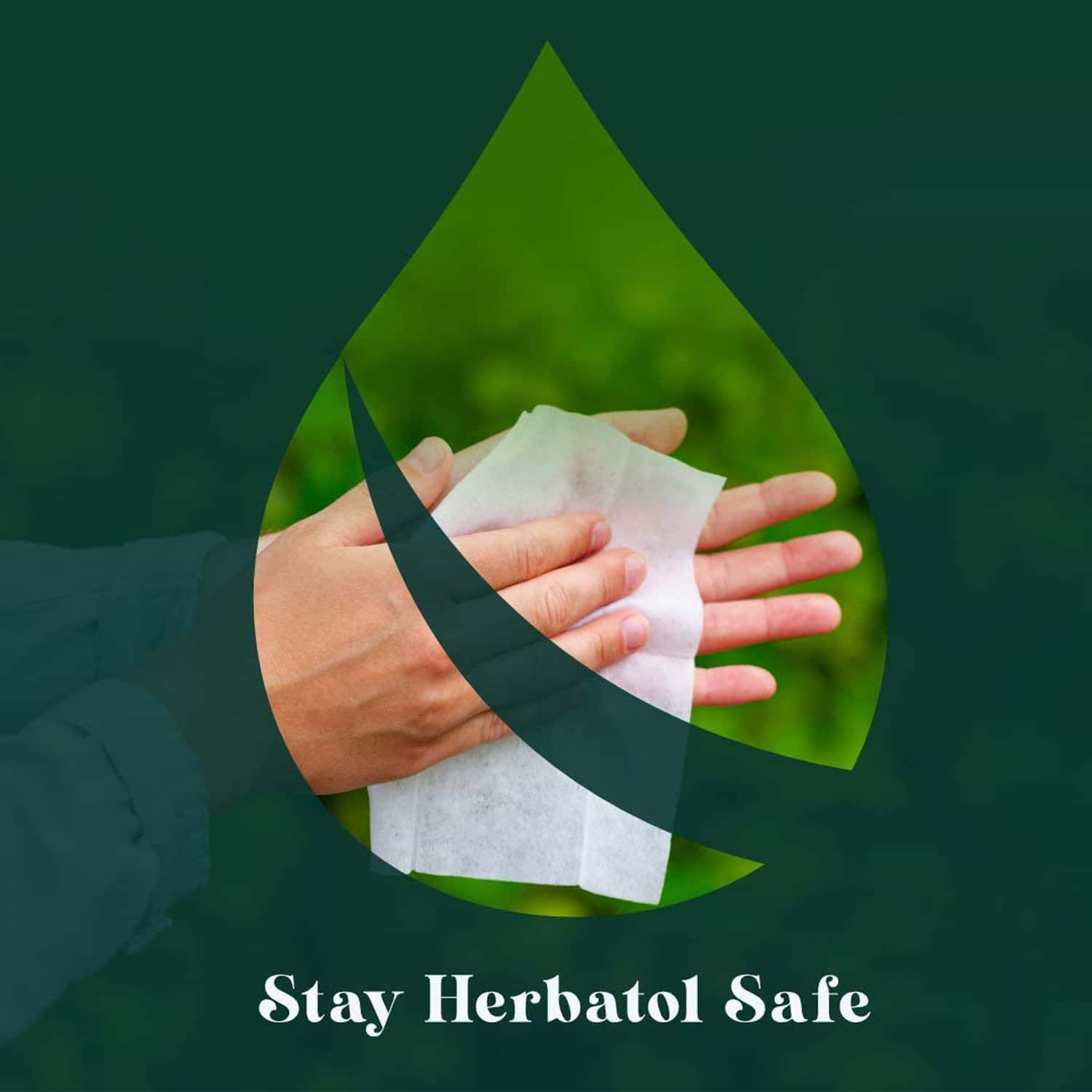 Herbatol Plus Germ Protection Wipes - 100% Biodegradable | Safe On Skin - Aloe Vera Extracts - 25 Wipes (pack Of 2)