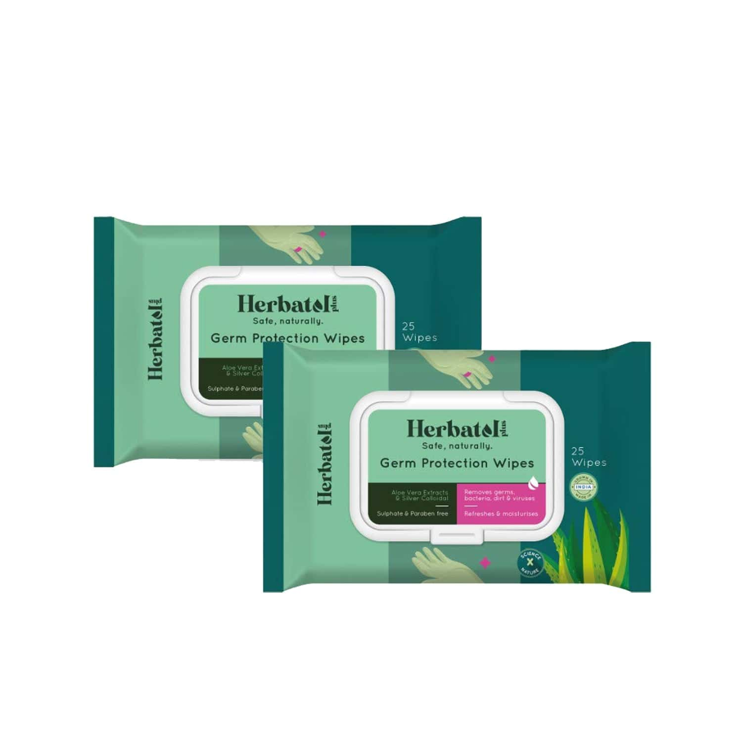 Herbatol Plus Germ Protection Wipes - 100% Biodegradable | Safe On Skin - Aloe Vera Extracts(pack Of 2) - 50's
