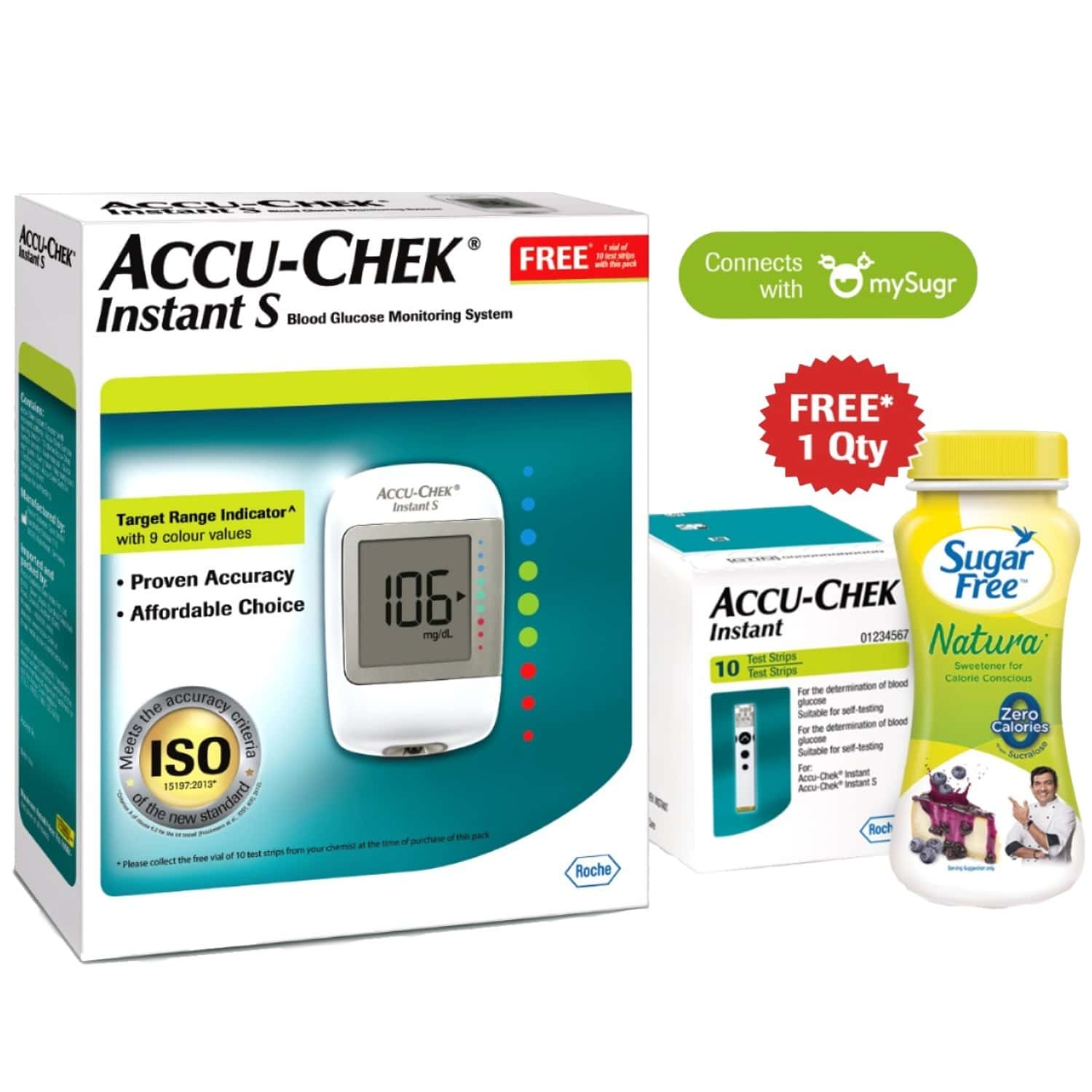 Accu-chek Instant S Glucometer & 10 Test Strips With Free Sugarfree