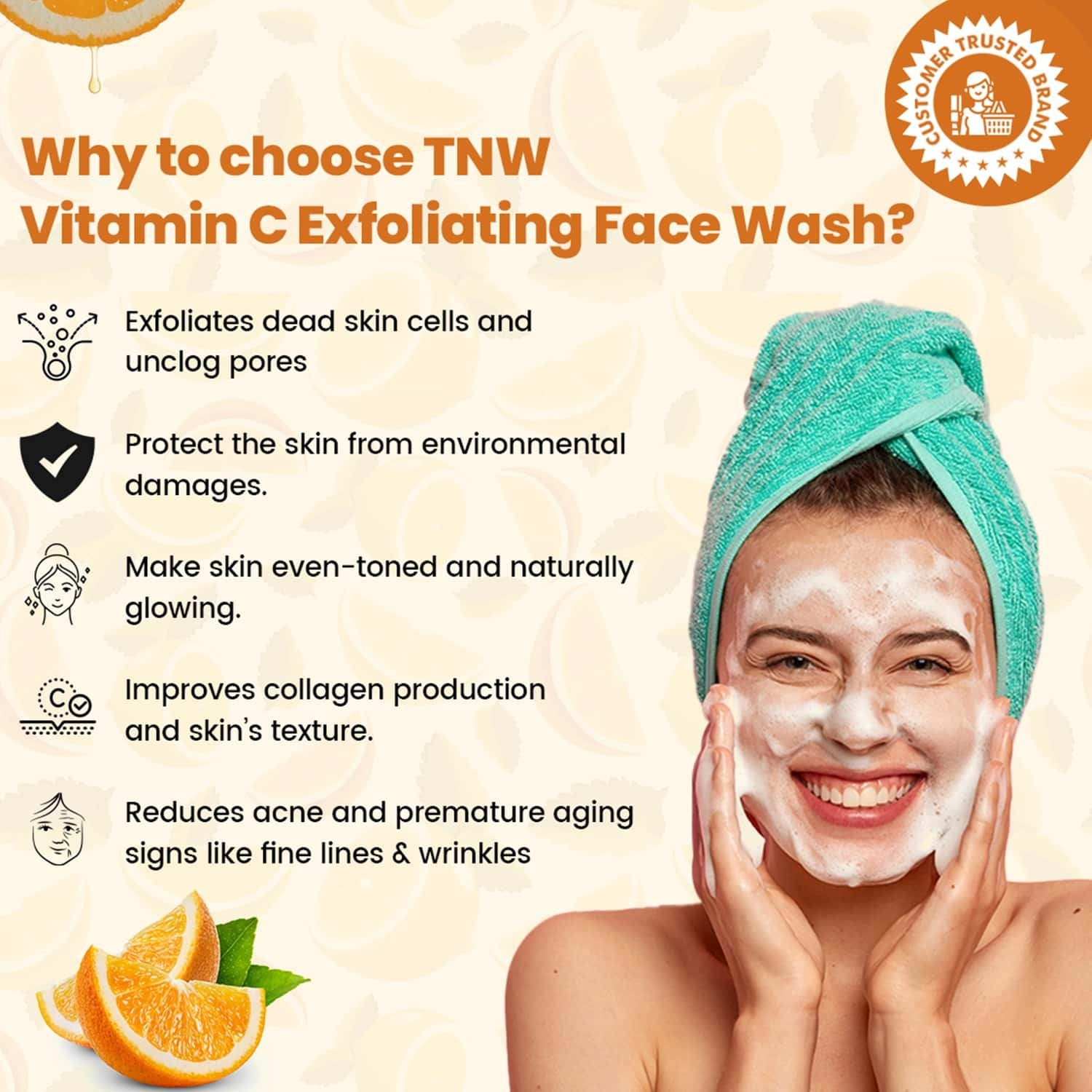 Tnw- The Natural Wash Vitamin C Exfoliating Face Wash For Refreshed Toned & Glowing Face - 100 Ml