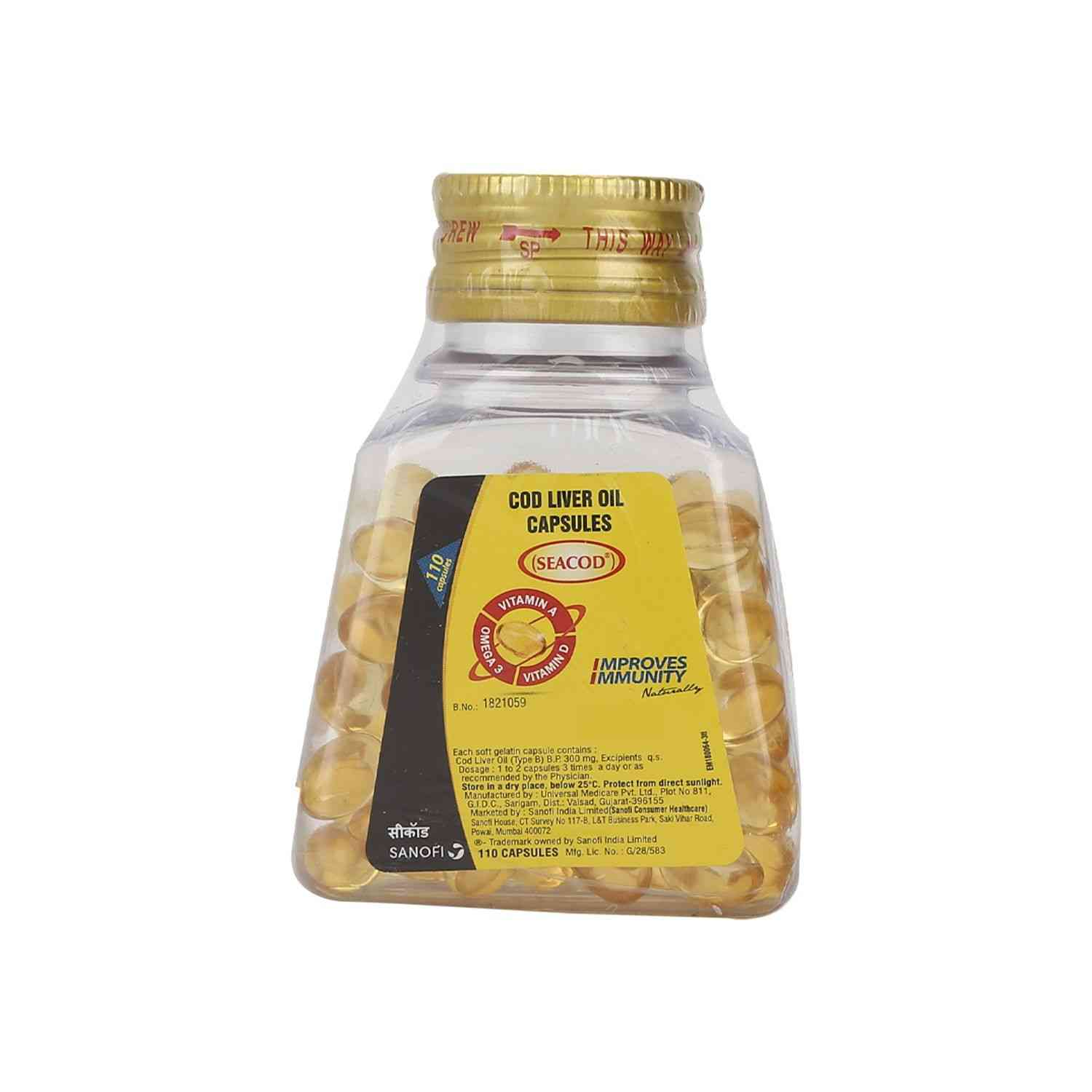 Seacod 110  Cod Liver Oil Capsules  Bottle Of 110
