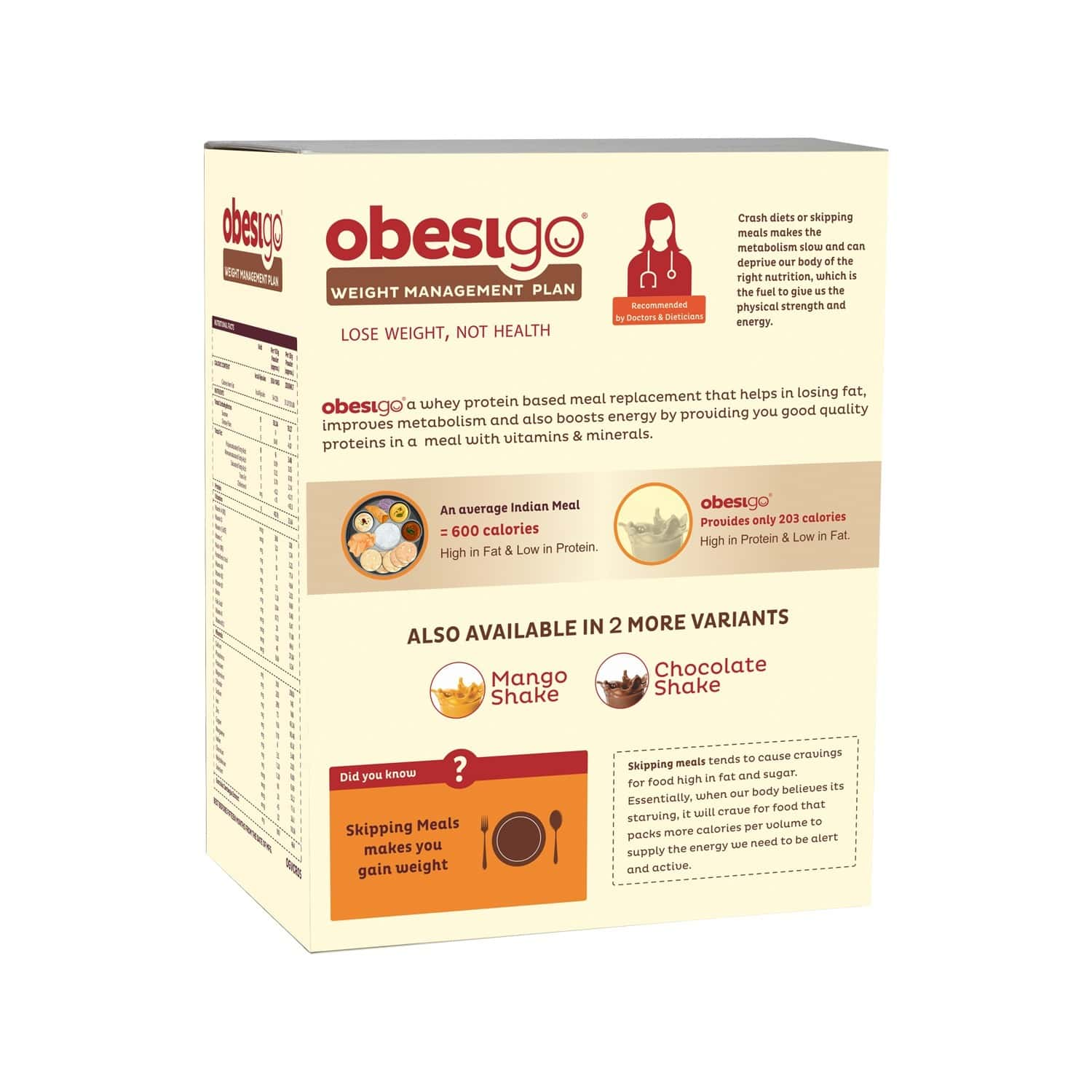 Obesigo Chocolate Fat Burner Powder (pack Of 7) Box Of 58 G