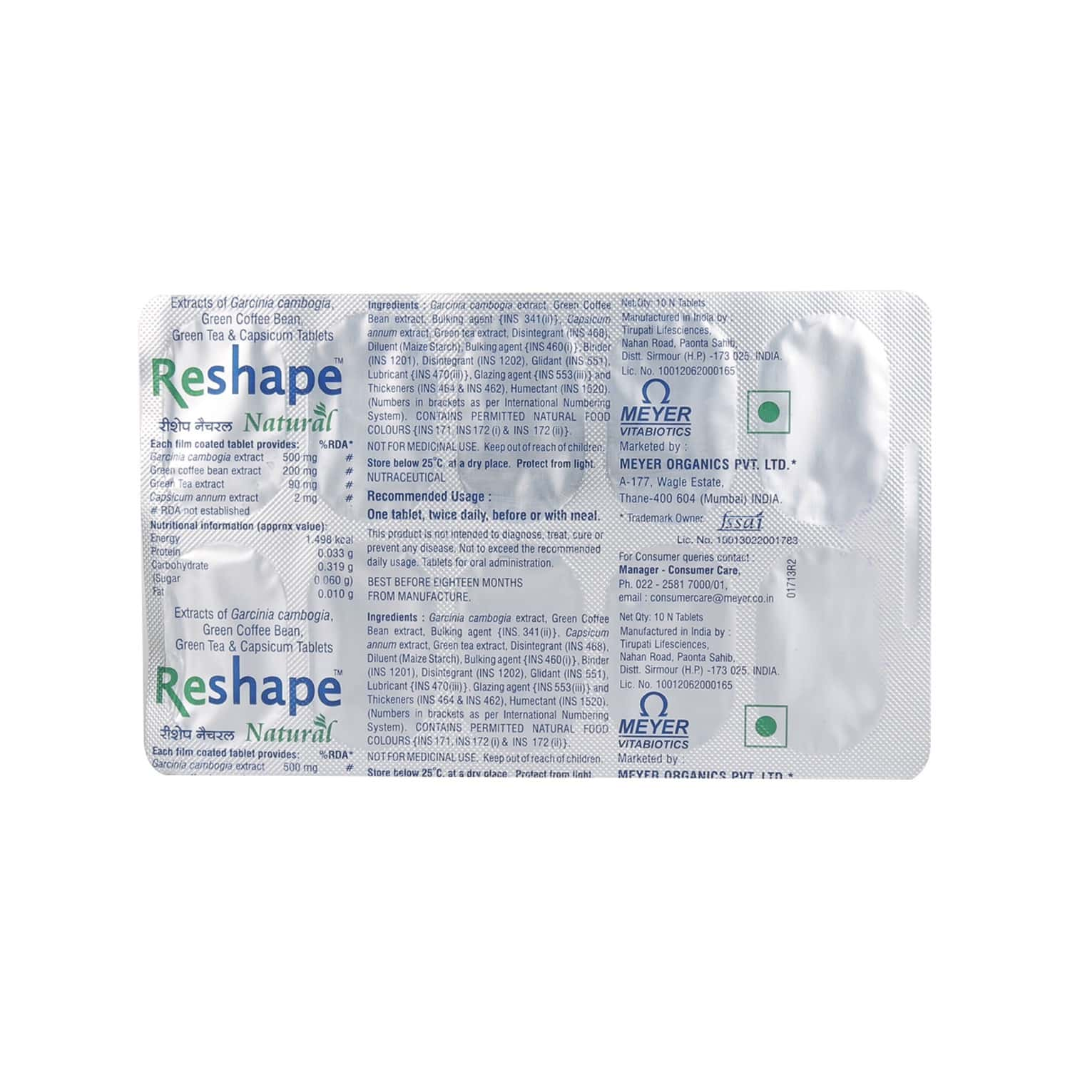 Reshape Natural Health Supplement Tablets (with Coffee Bean And Green Tea Extracts) Box Of 10
