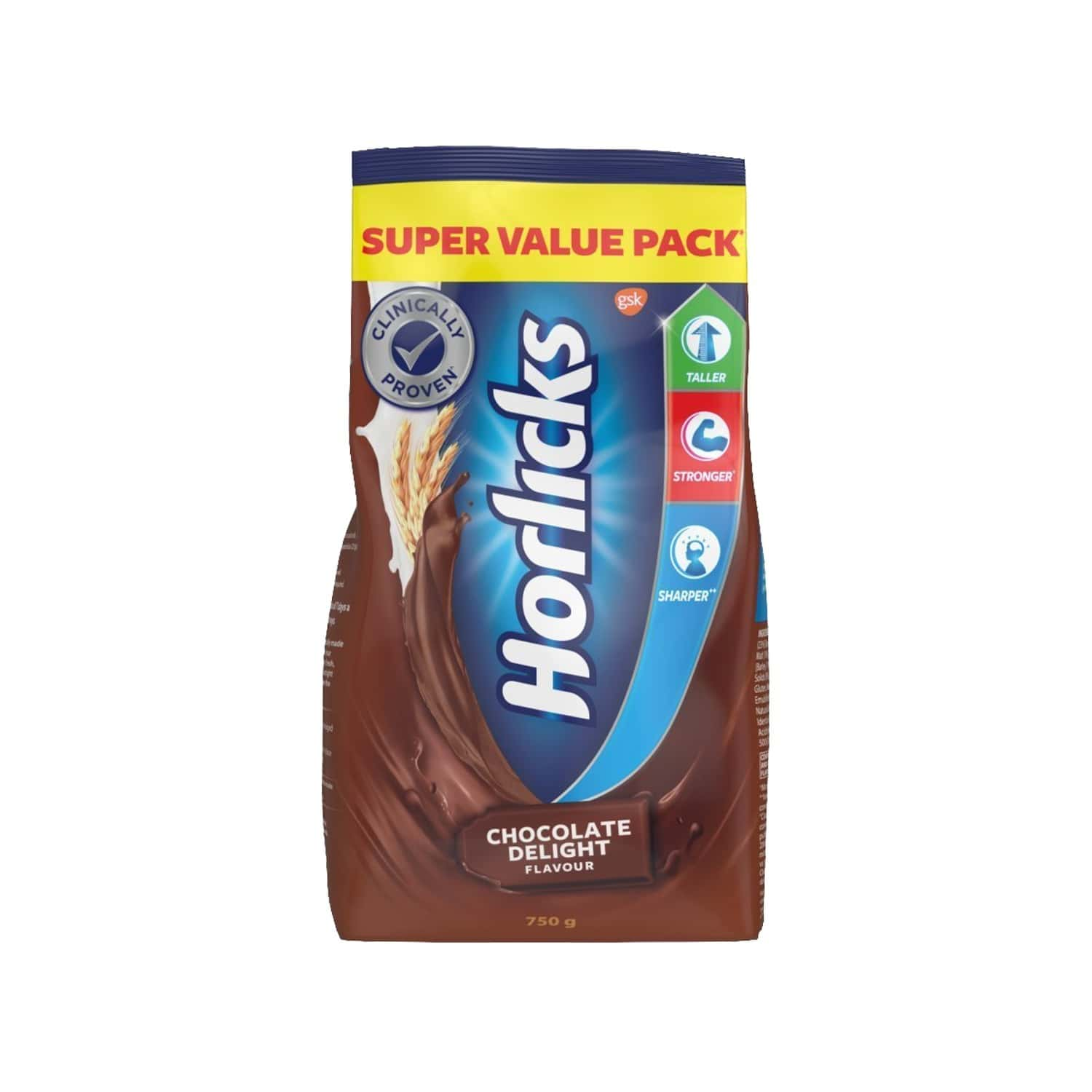 Horlicks Health & Nutrition Drink, Chocolate, Gusseted Pouch 750 G