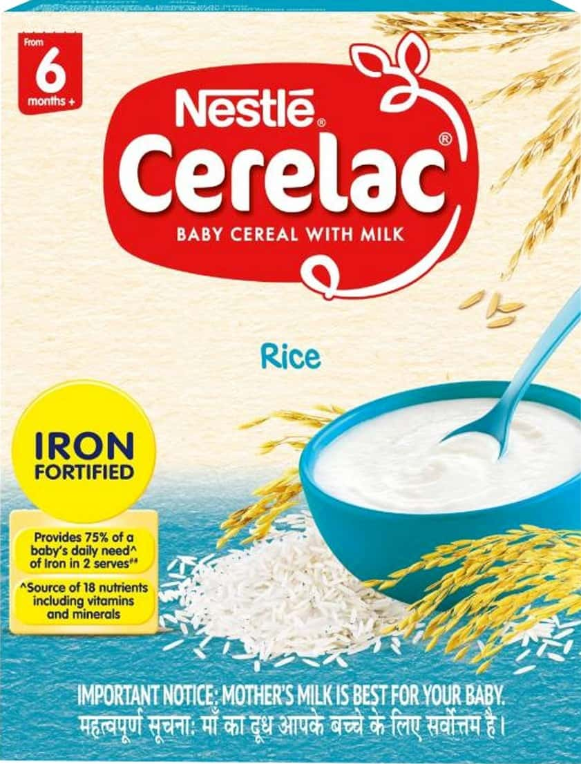 Nestle Cerelac Baby Cereal With Milk, Rice From 6 Months, 300g Bag-in-box Pack