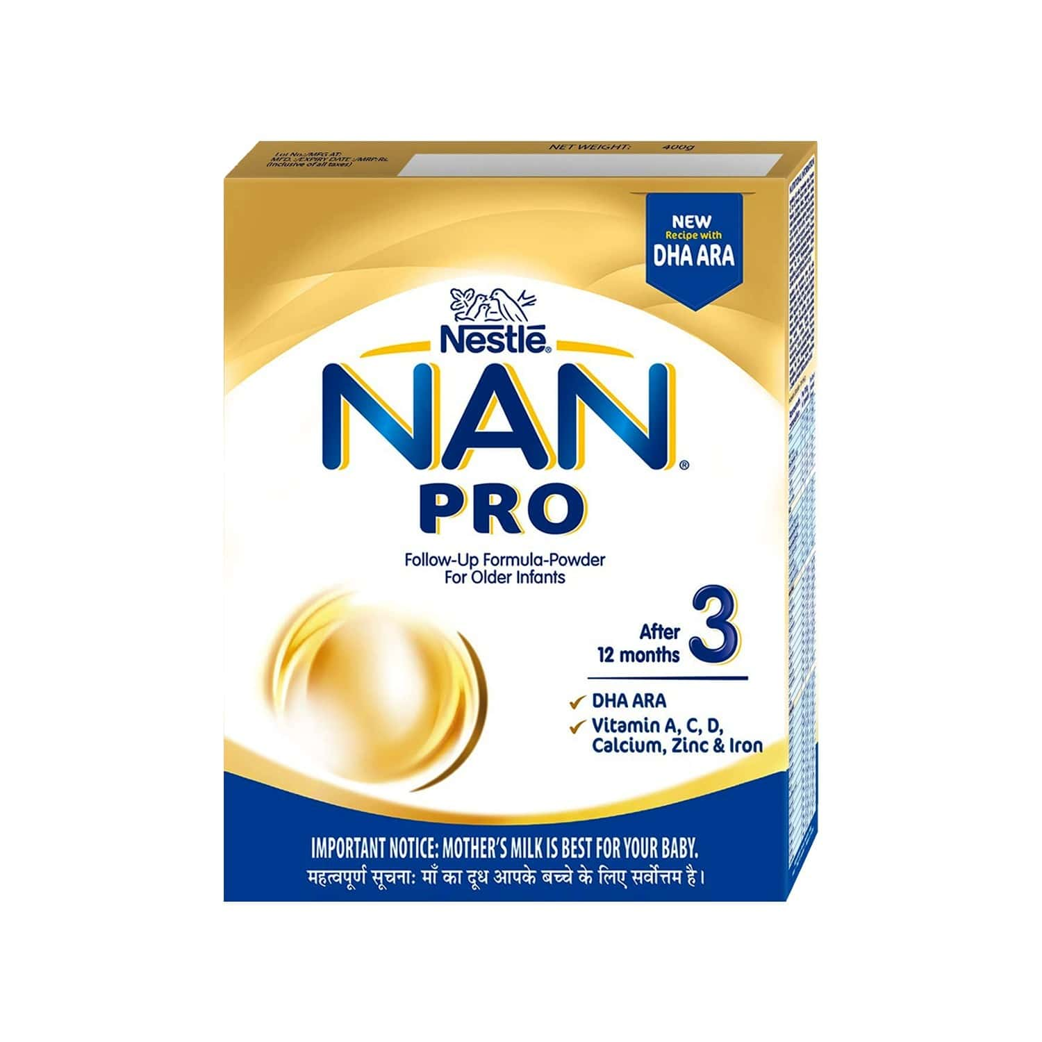 Nestle Nan Pro 3 Baby Food Follow Up Infant Formula (after 12 Months) Refill Of 400 G
