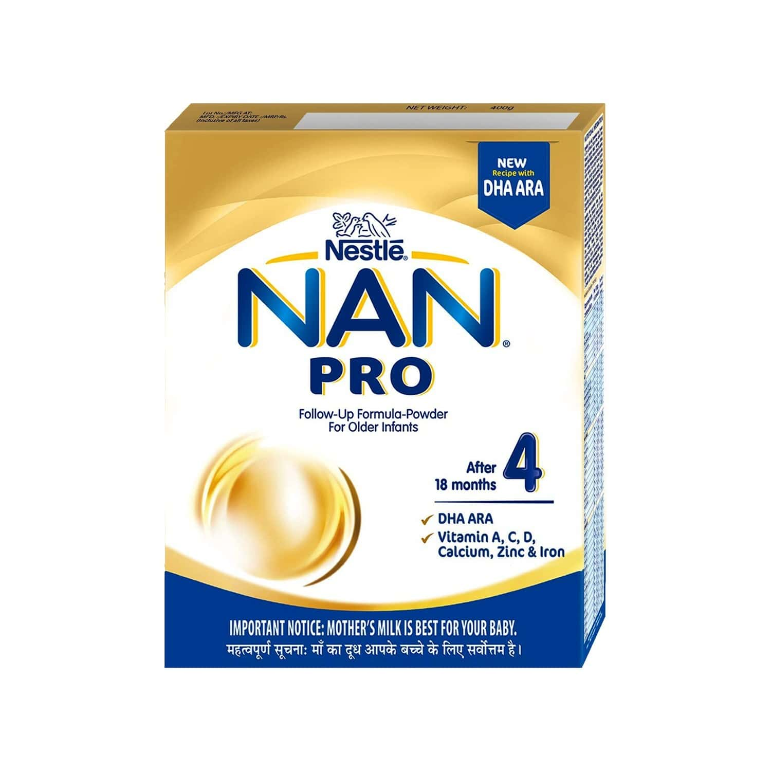 Nestle Nan Pro 4 Baby Food Follow Up Infant Formula (after 18 Months) Refill Of 400 G