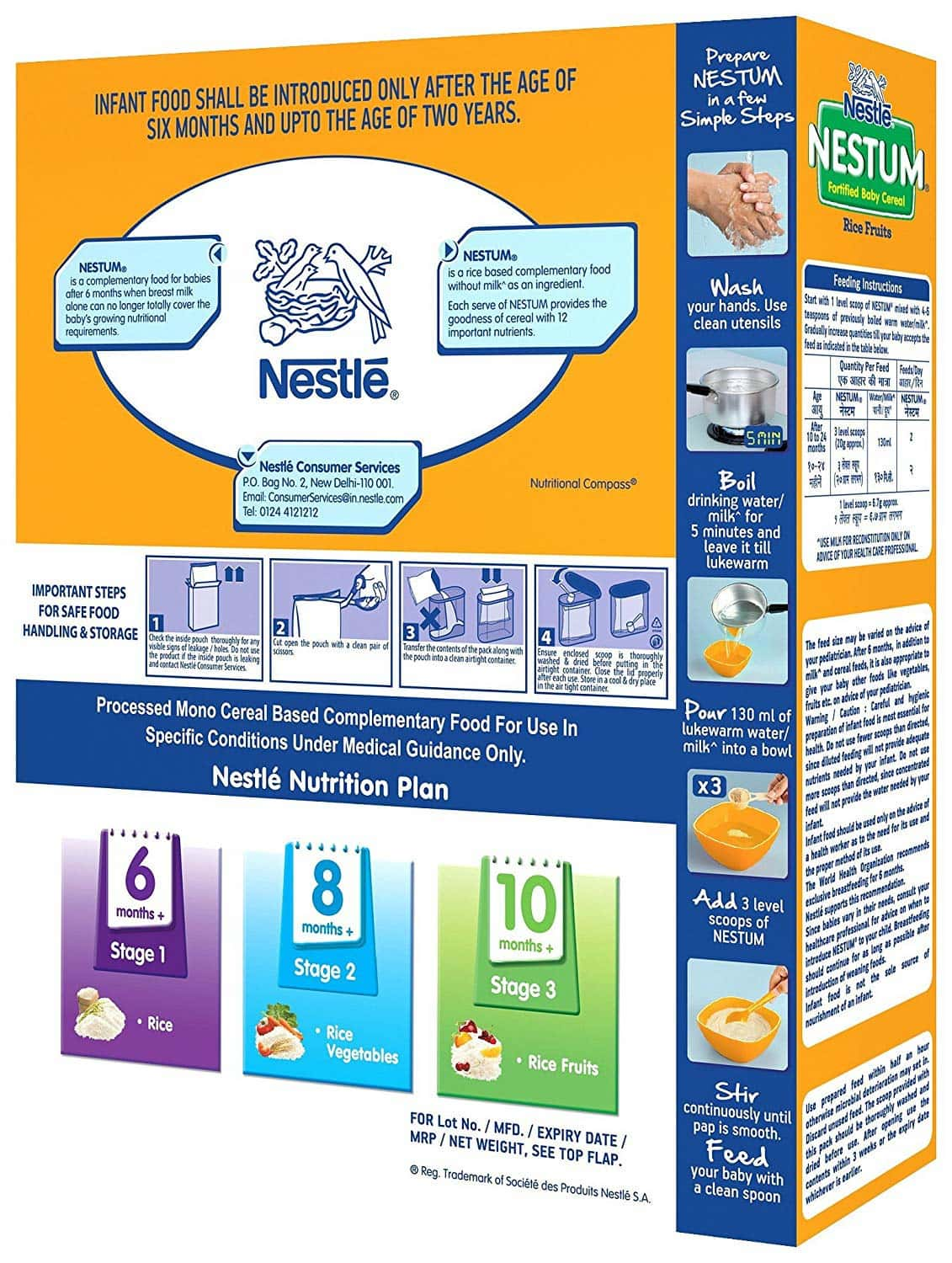 Nestle Nestum Infant Cereal Stage-3 (10 - 24 Months) Rice Fruits Refill 300 Gm