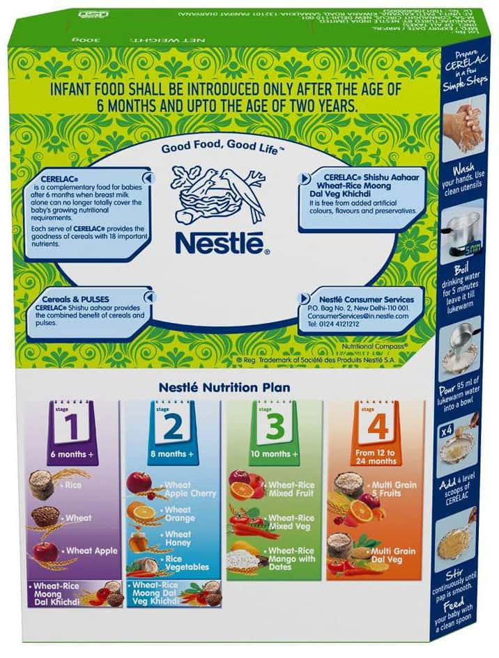 Nestle Cerelac Shishu Aahaar Infant Cereal Stage-2 (8 - 24 Months) Wheat Rice Moong Dal Veg Khichdi Refill 300 Gm