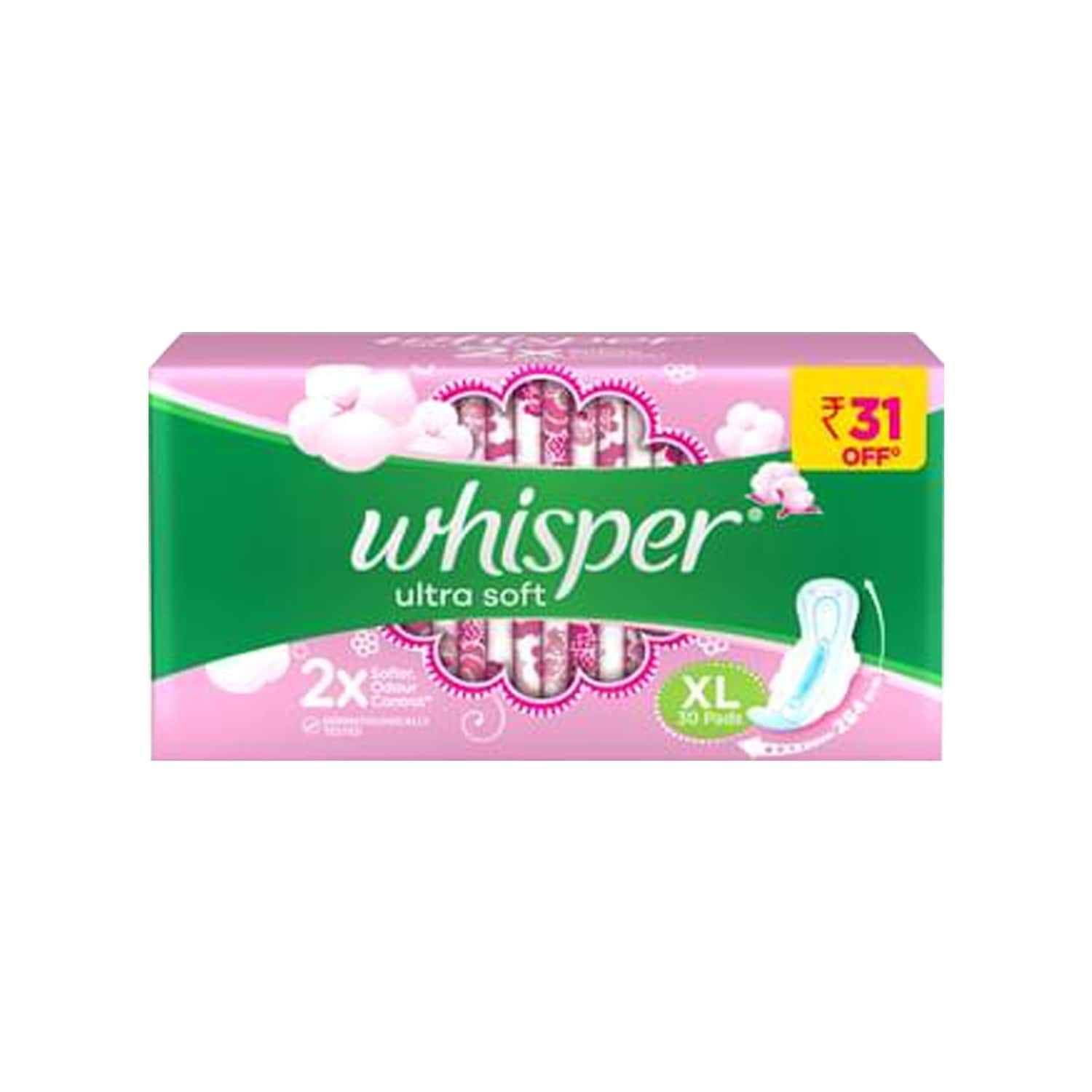 Whisper Ultra Soft  Sanitary Pads Xl Wings Packet Of 30