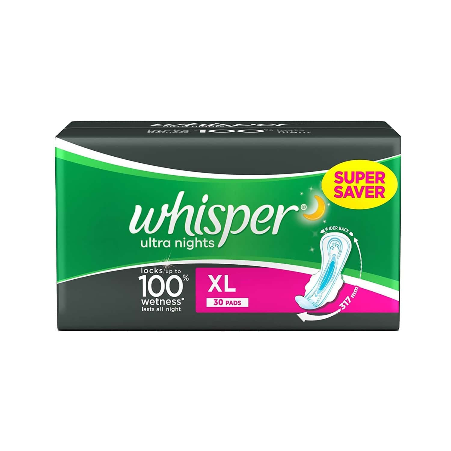 Whisper Ultra Overnight Sanitary Pads Extra Large Wings 30 Pieces