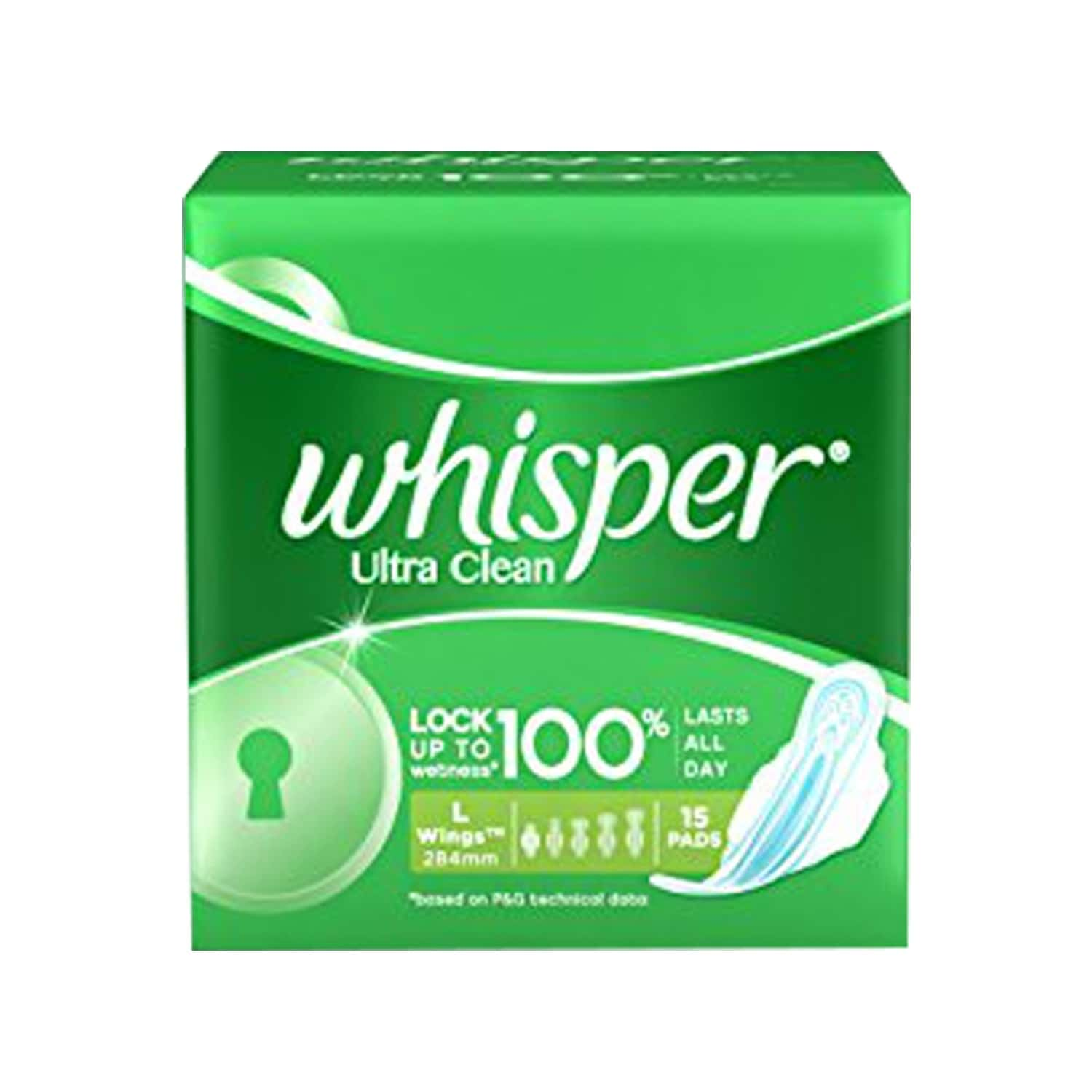 Whisper Ultra Clean Size Wing L Sanitary Pads Packet Of 15