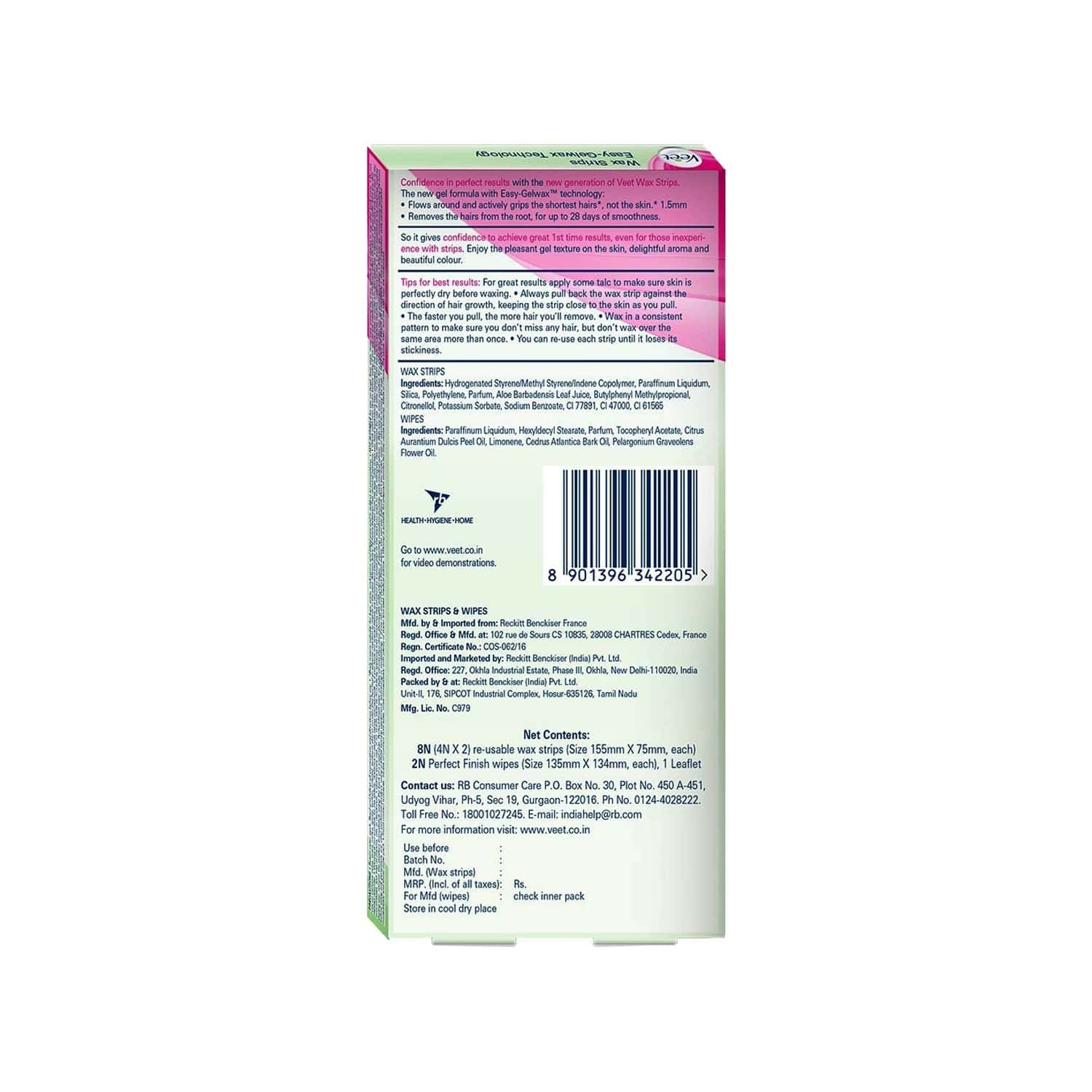Veet Instant  Wax Strips For Dry Skin Box Of 8