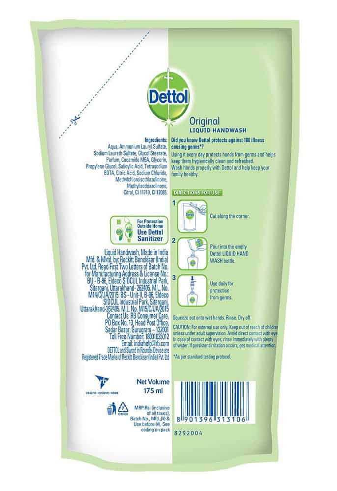 Dettol Liquid Handwash Refill, Original - 175 Ml