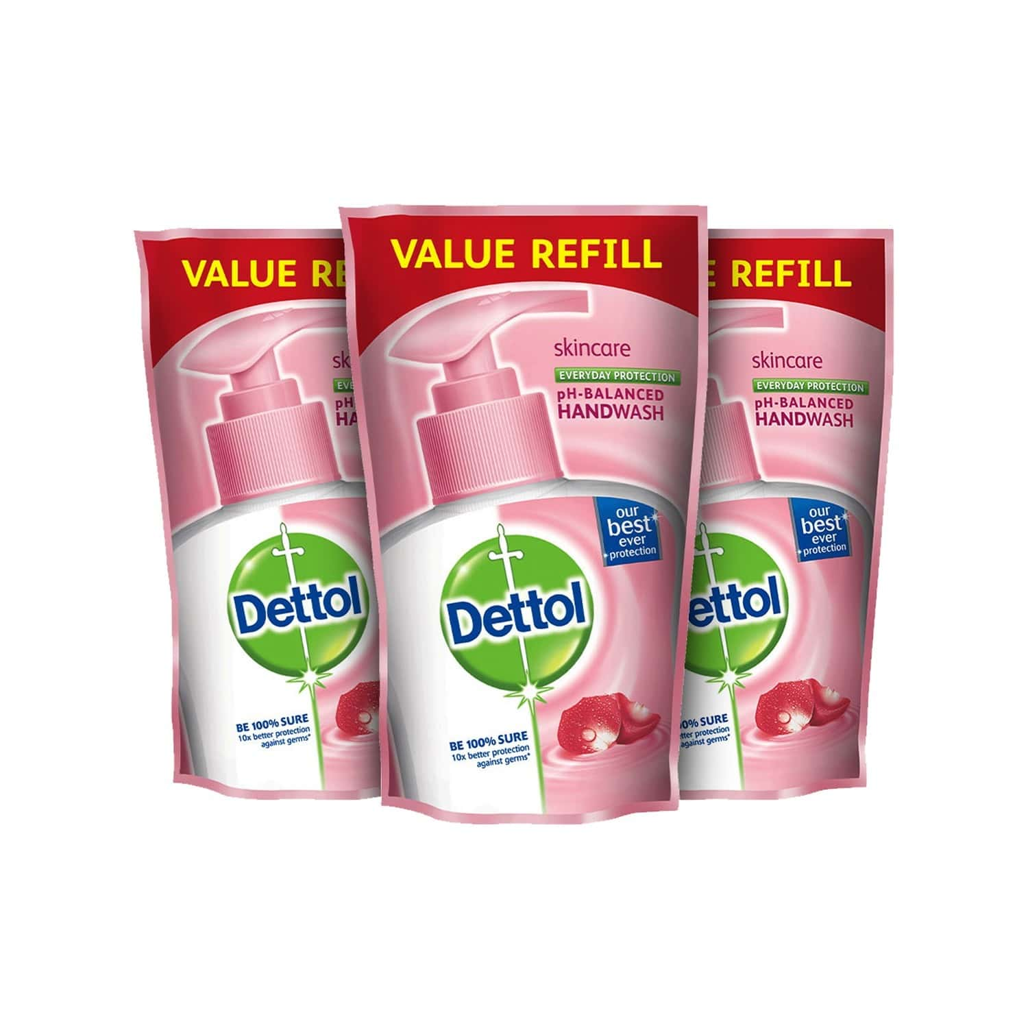 Dettol Germ Protection Skincare (pack Of 2+1) Handwash Packet Of 175 Ml