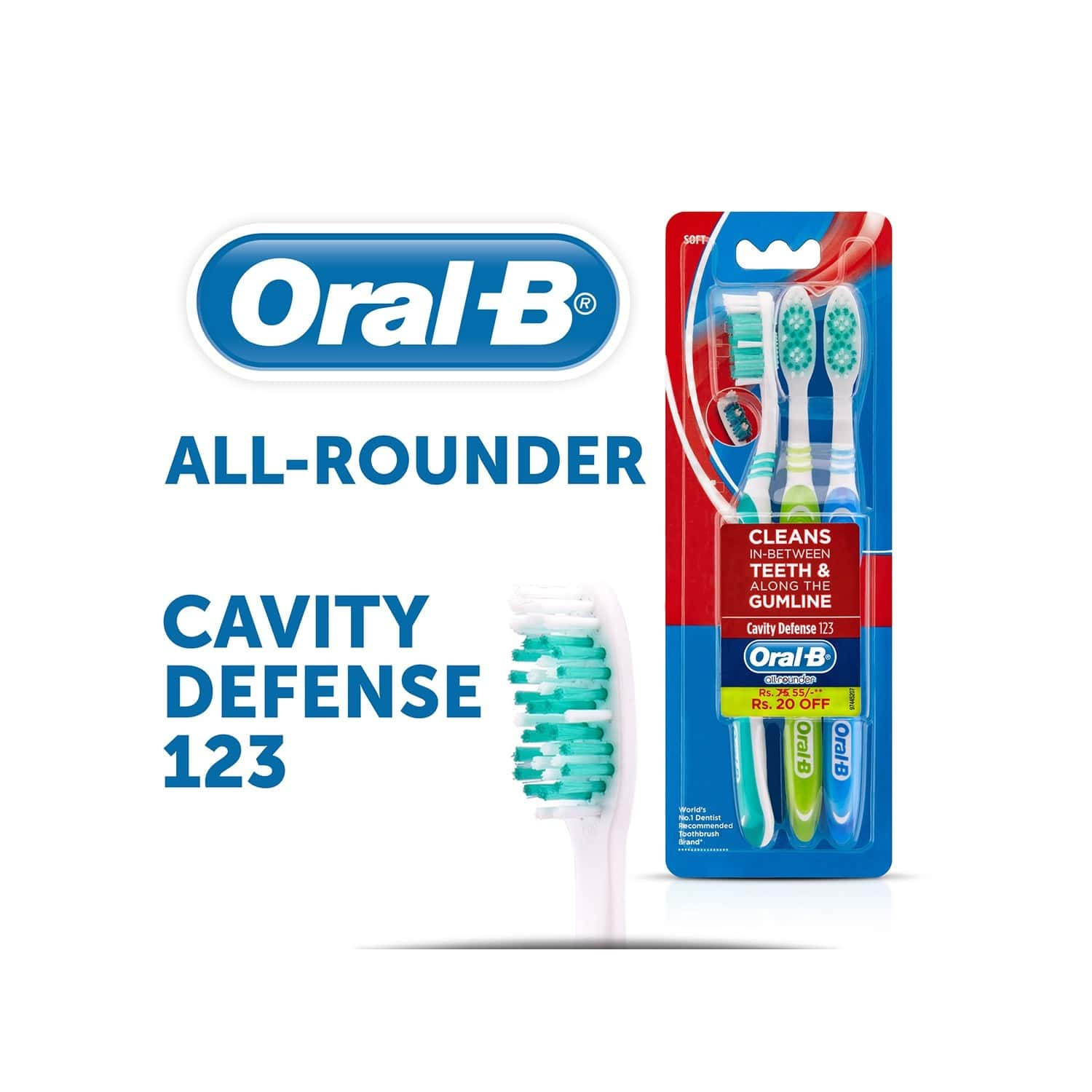 Oral-b All Rounder Cavity Defence 123 Toothbrush Soft 3 Piece Pack
